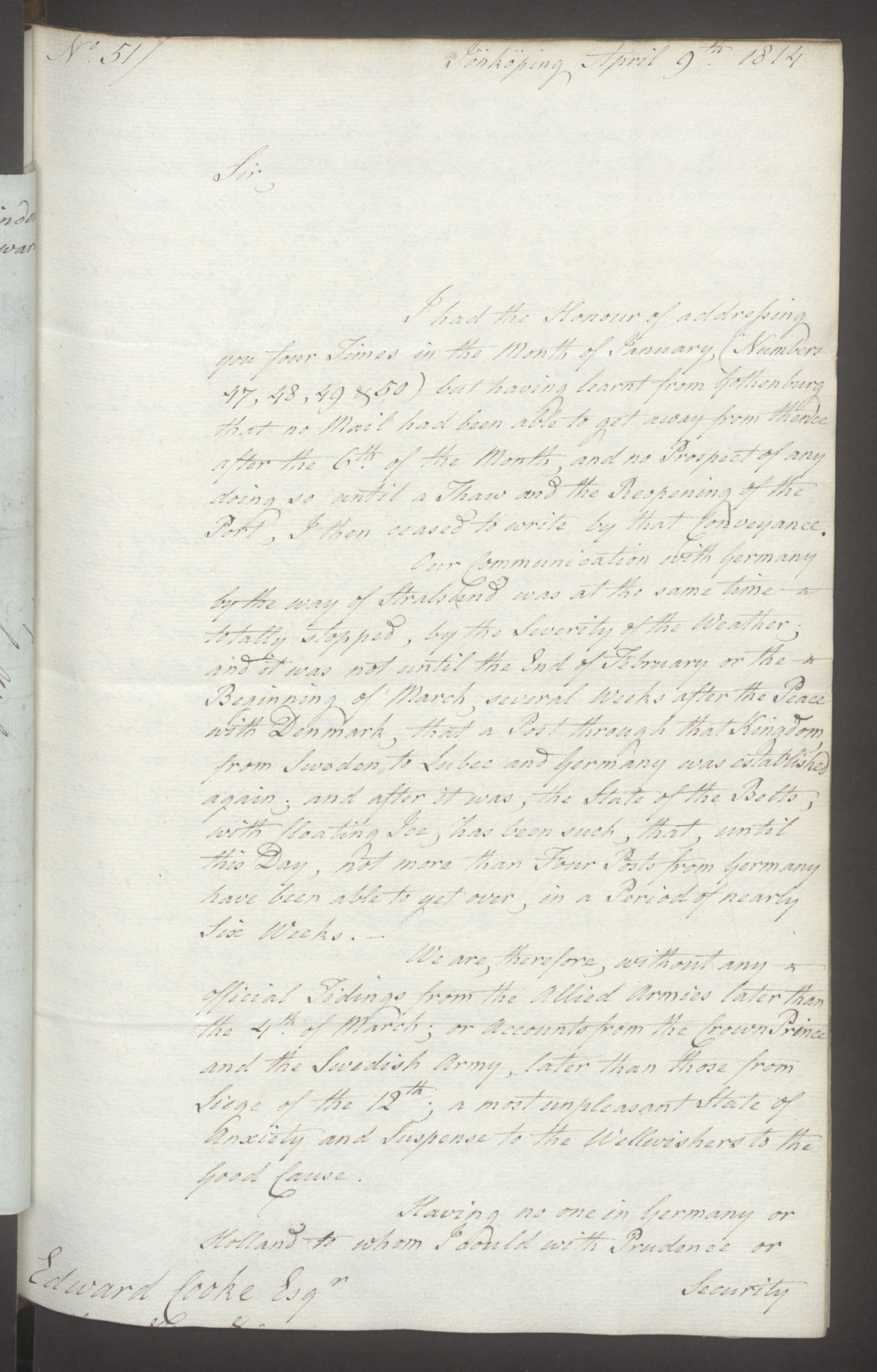UKA, Foreign Office*, FO 38/16: Sir C. Gordon. Reports from Malmö, Jonkoping, and Helsingborg, 1814, s. 30