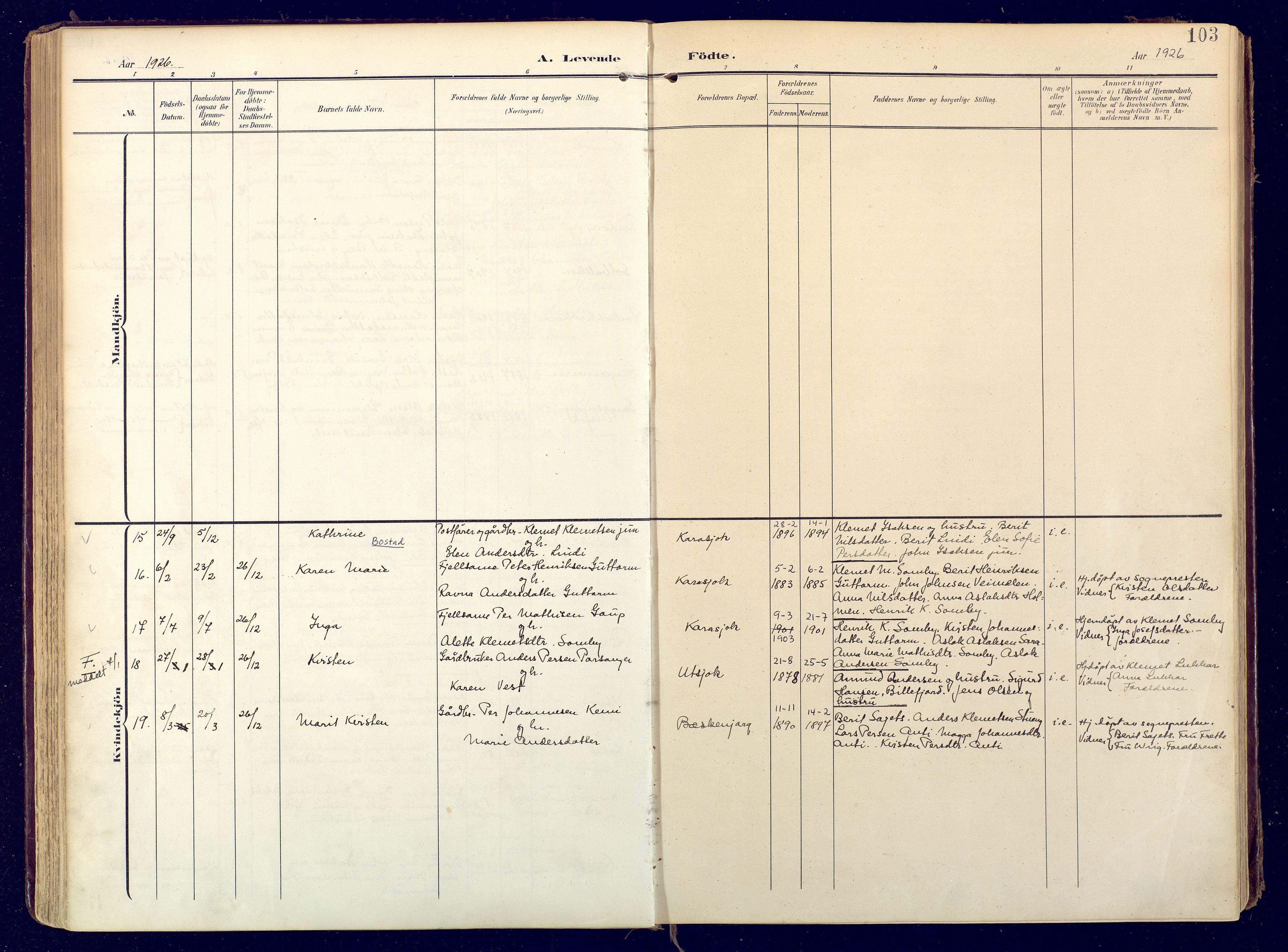 SATØ, Karasjok sokneprestkontor, H/Ha: Ministerialbok nr. 3, 1907-1926, s. 103