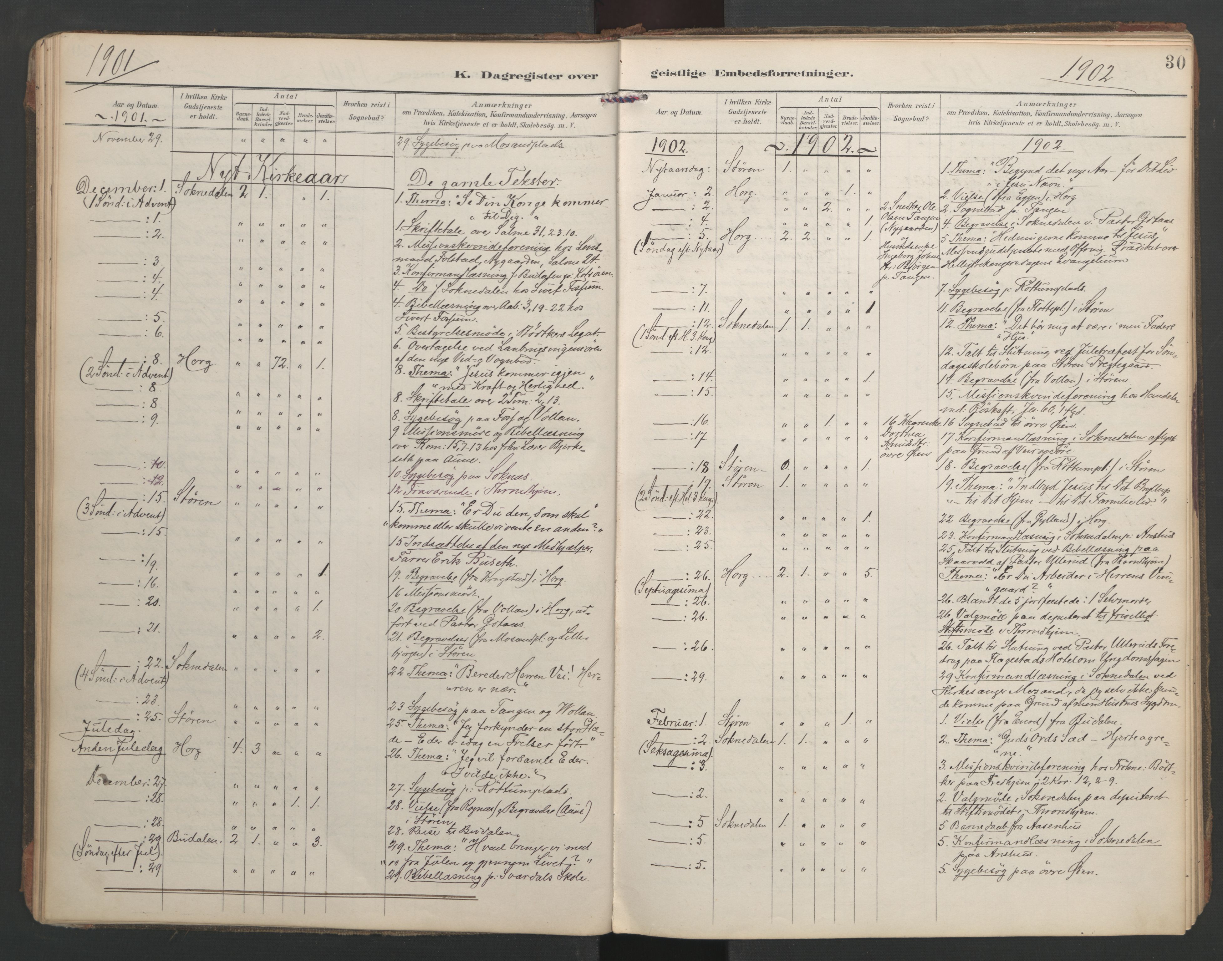 SAT, Ministerialprotokoller, klokkerbøker og fødselsregistre - Sør-Trøndelag, 687/L1005: Dagregister nr. 687A11, 1891-1912, s. 30
