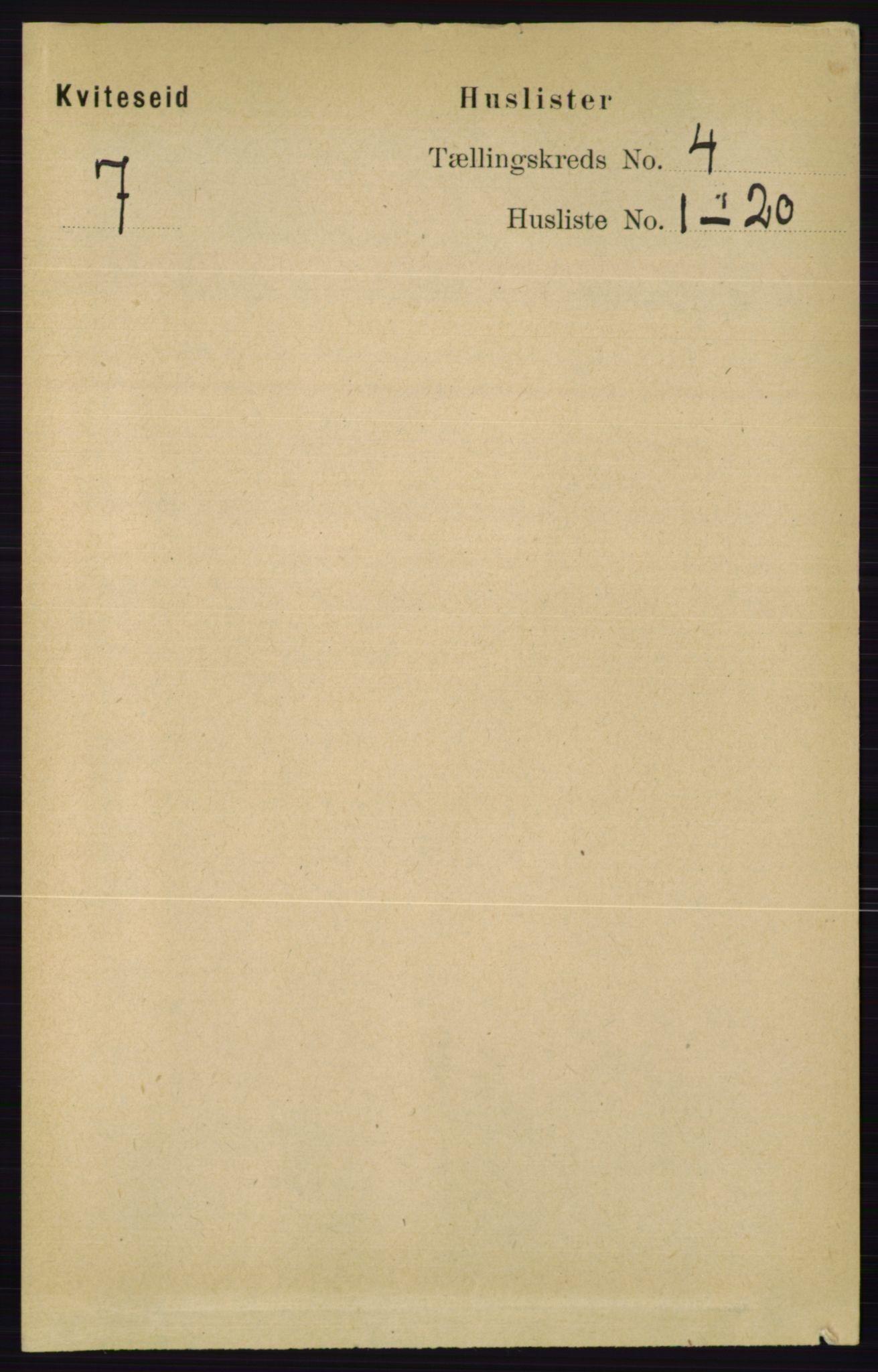 RA, Folketelling 1891 for 0829 Kviteseid herred, 1891, s. 704