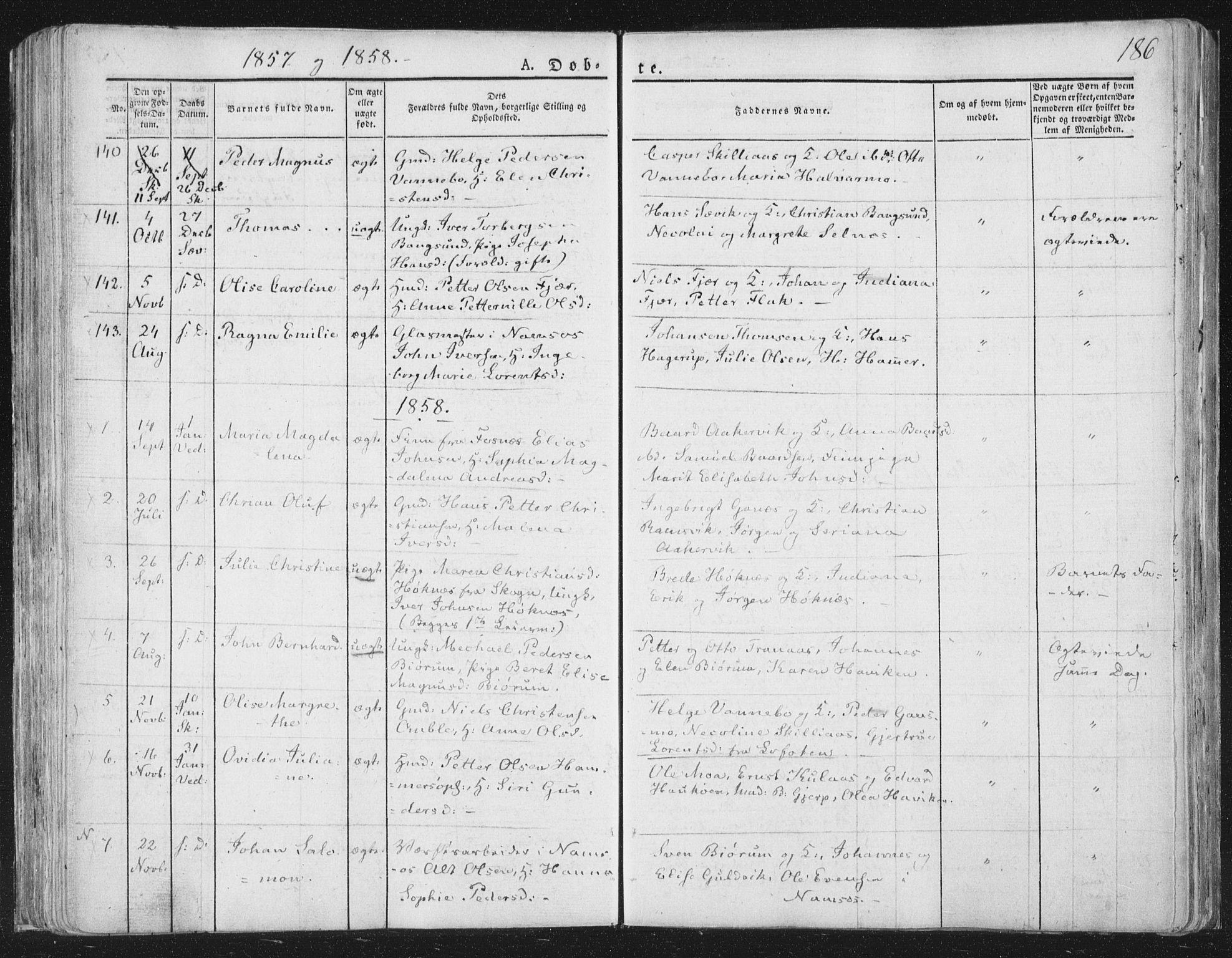 SAT, Ministerialprotokoller, klokkerbøker og fødselsregistre - Nord-Trøndelag, 764/L0551: Ministerialbok nr. 764A07a, 1824-1864, s. 186