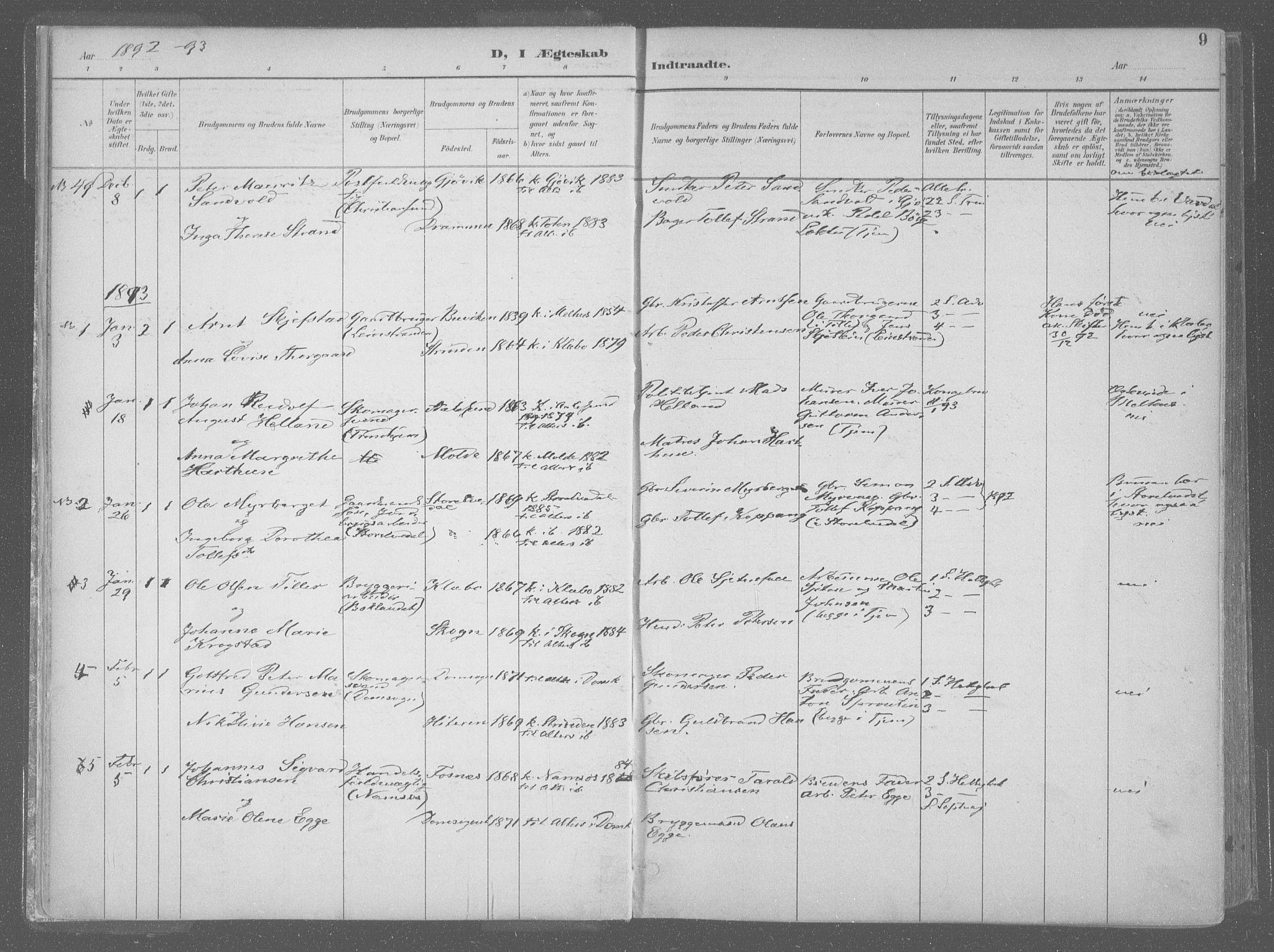 SAT, Ministerialprotokoller, klokkerbøker og fødselsregistre - Sør-Trøndelag, 601/L0064: Ministerialbok nr. 601A31, 1891-1911, s. 9