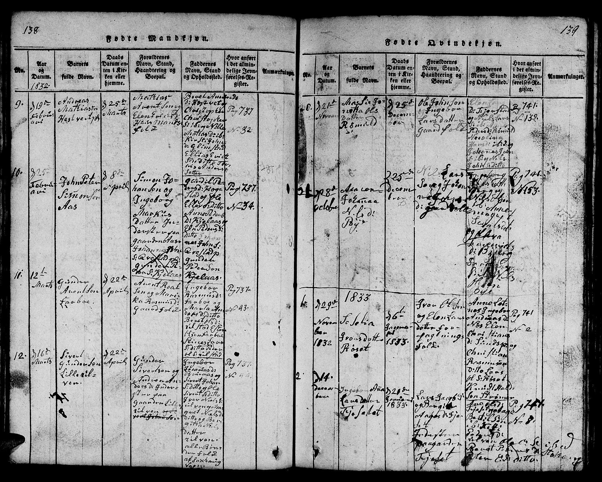 SAT, Ministerialprotokoller, klokkerbøker og fødselsregistre - Nord-Trøndelag, 730/L0298: Klokkerbok nr. 730C01, 1816-1849, s. 138-139