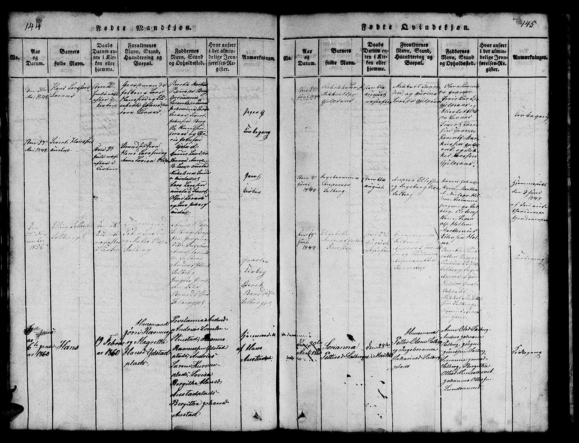 SAT, Ministerialprotokoller, klokkerbøker og fødselsregistre - Nord-Trøndelag, 731/L0310: Klokkerbok nr. 731C01, 1816-1874, s. 144-145