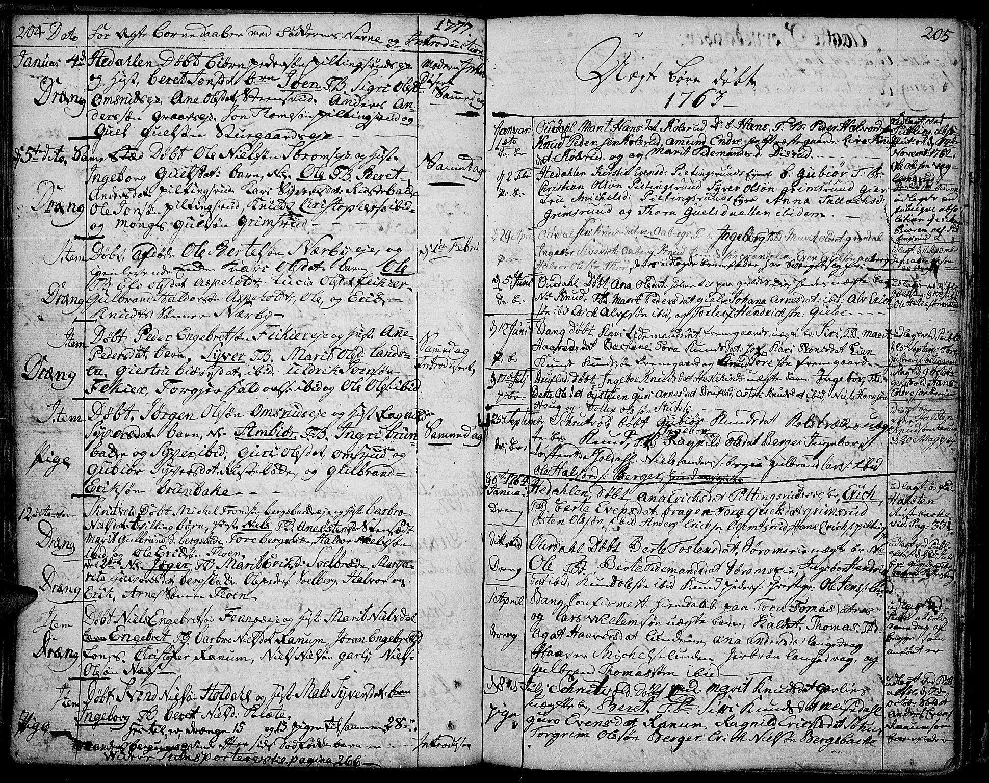SAH, Aurdal prestekontor, Ministerialbok nr. 5, 1763-1781, s. 204-205