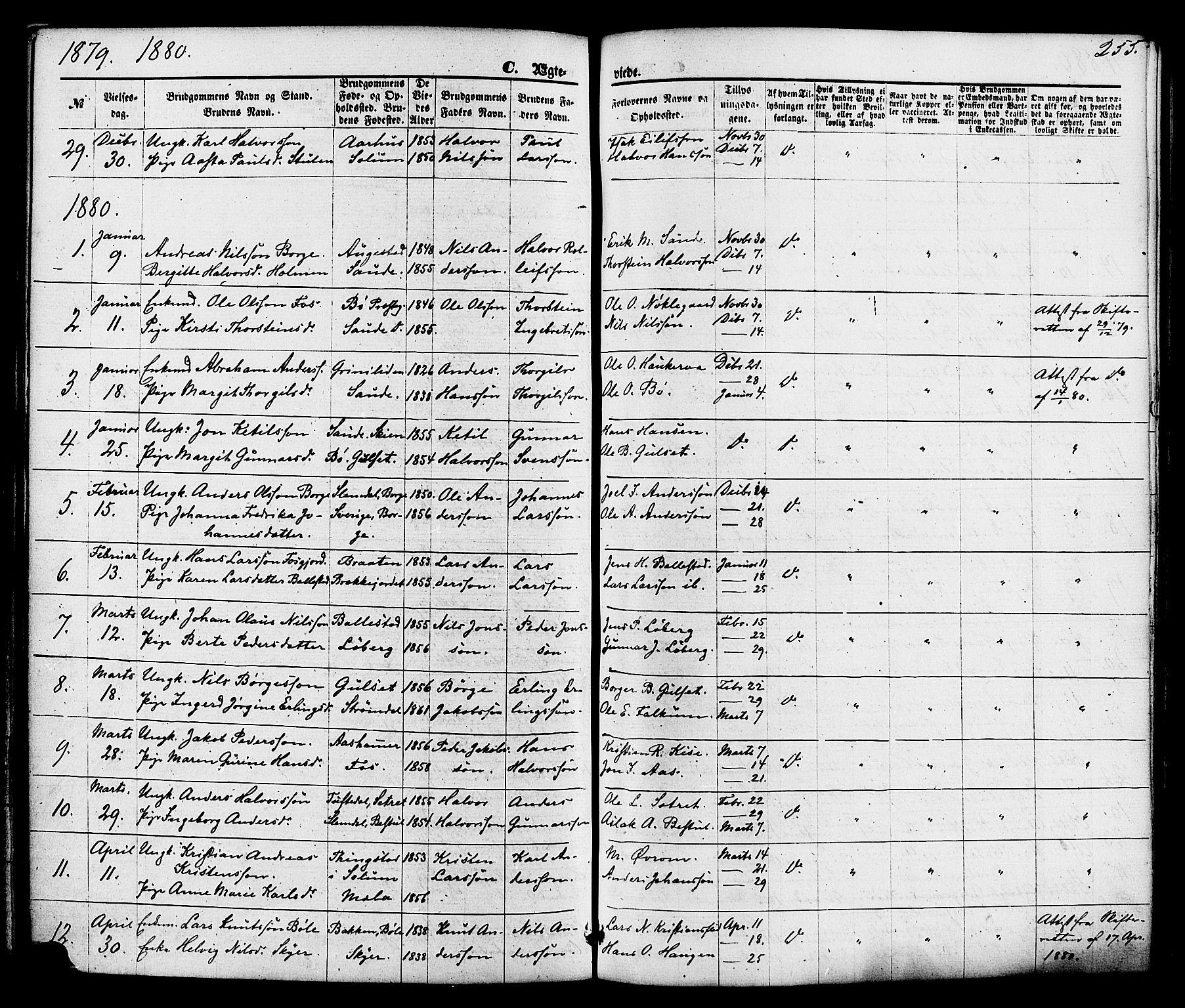 SAKO, Gjerpen kirkebøker, F/Fa/L0009: Ministerialbok nr. 9, 1872-1885, s. 255