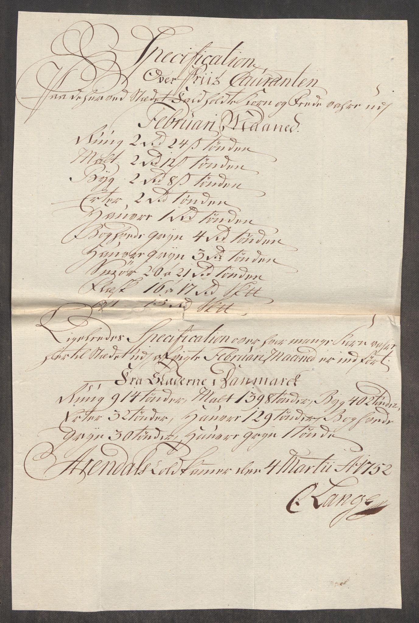 RA, Rentekammeret inntil 1814, Realistisk ordnet avdeling, Oe/L0004: [Ø1]: Priskuranter, 1749-1752, s. 963