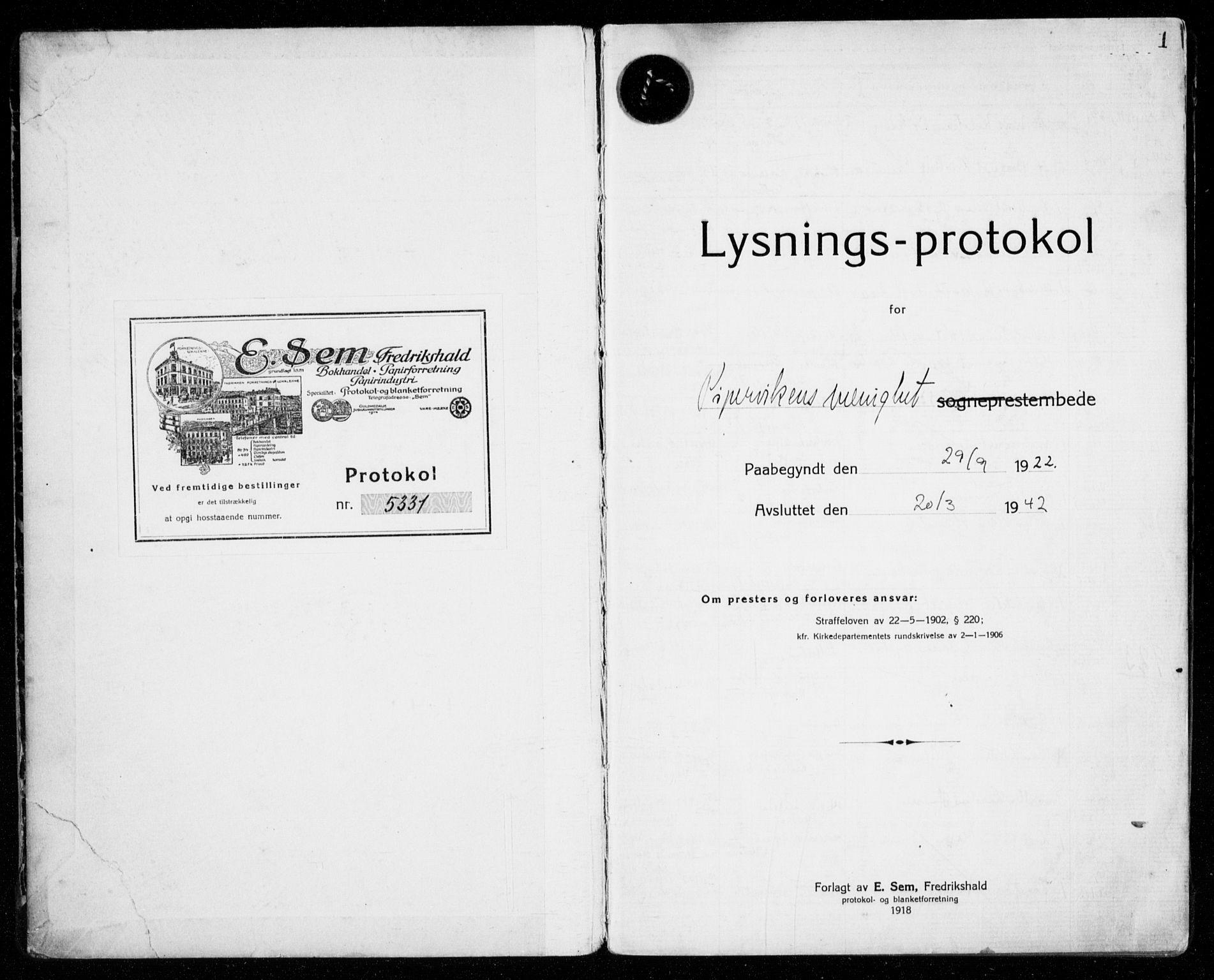 SAO, Piperviken prestekontor Kirkebøker, H/Ha/L0002: Lysningsprotokoll nr. 2, 1922-1942, s. 1