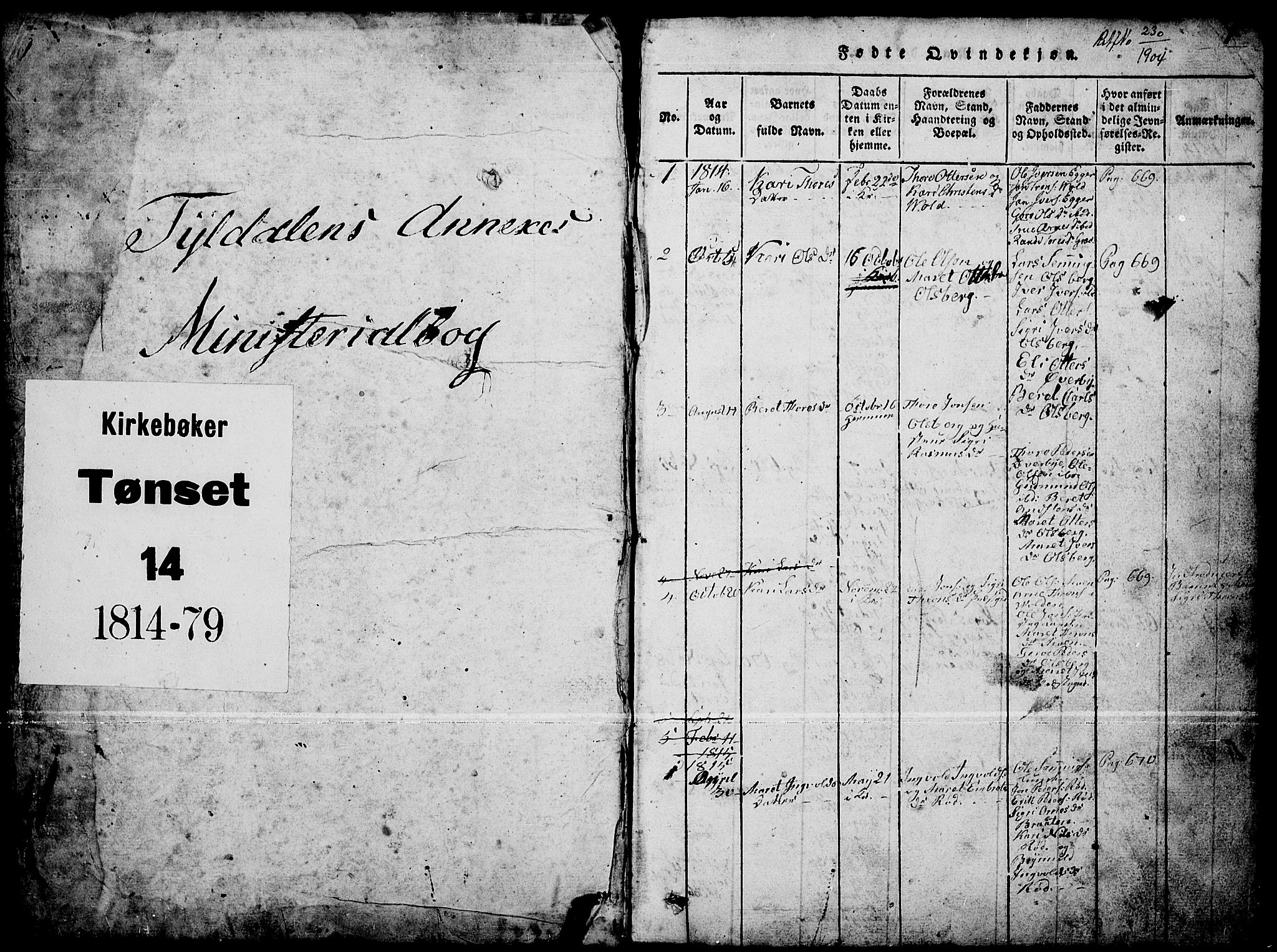 SAH, Tynset prestekontor, Klokkerbok nr. 4, 1814-1879, s. 0-1