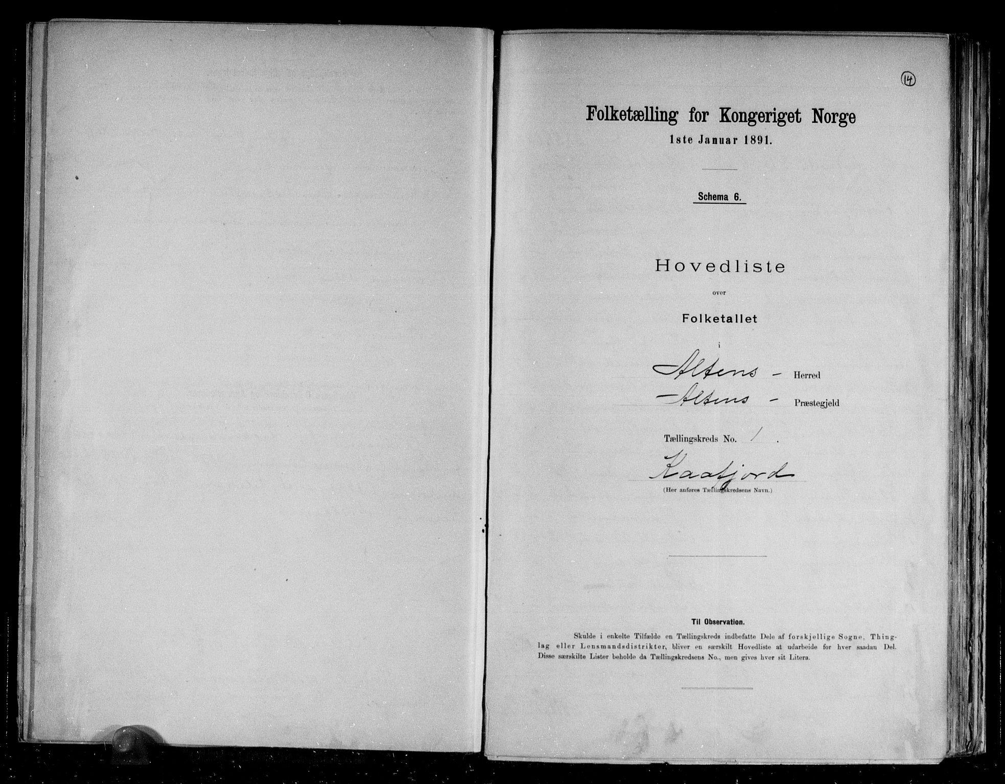 RA, Folketelling 1891 for 2012 Alta herred, 1891, s. 4
