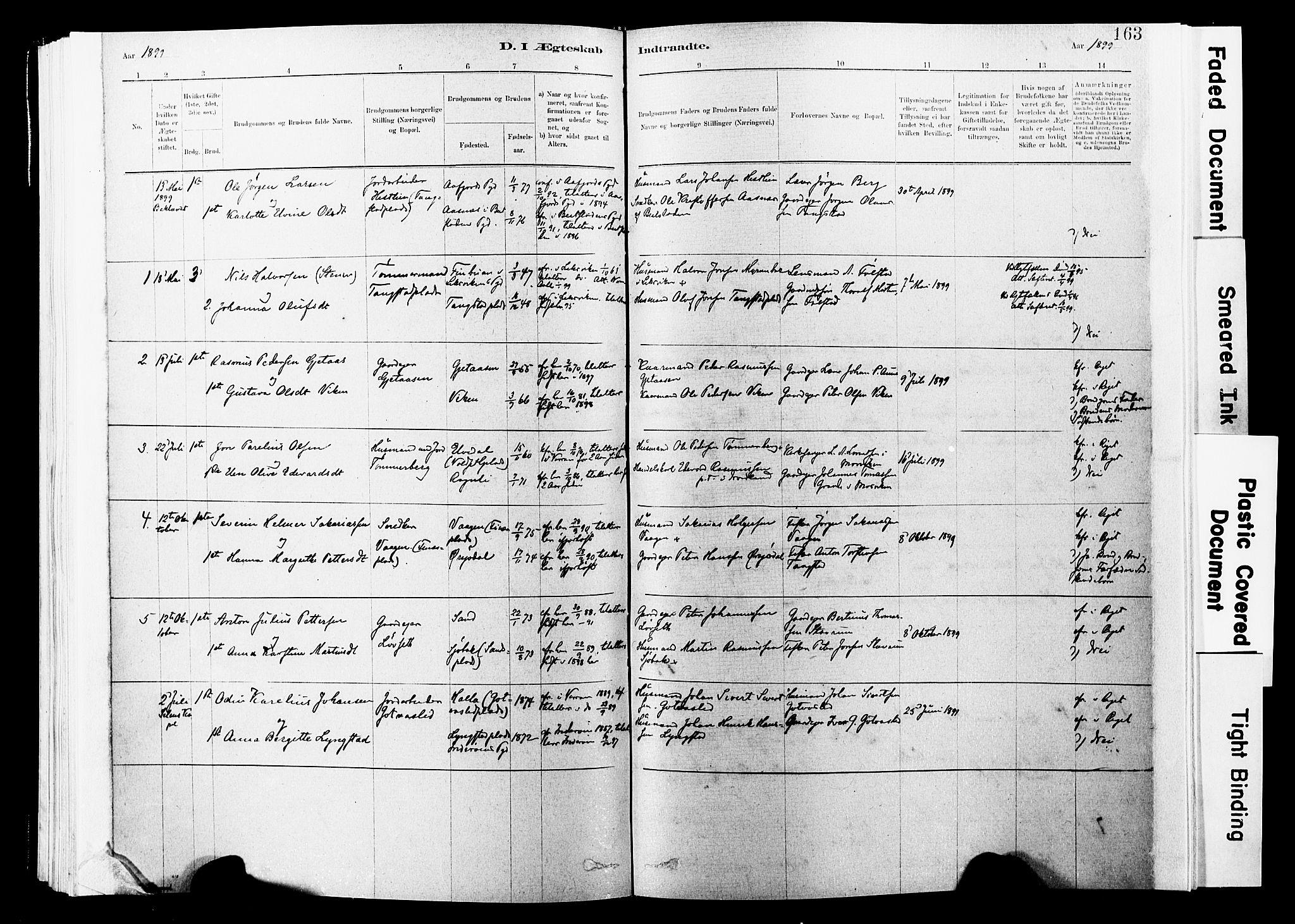 SAT, Ministerialprotokoller, klokkerbøker og fødselsregistre - Nord-Trøndelag, 744/L0420: Ministerialbok nr. 744A04, 1882-1904, s. 163