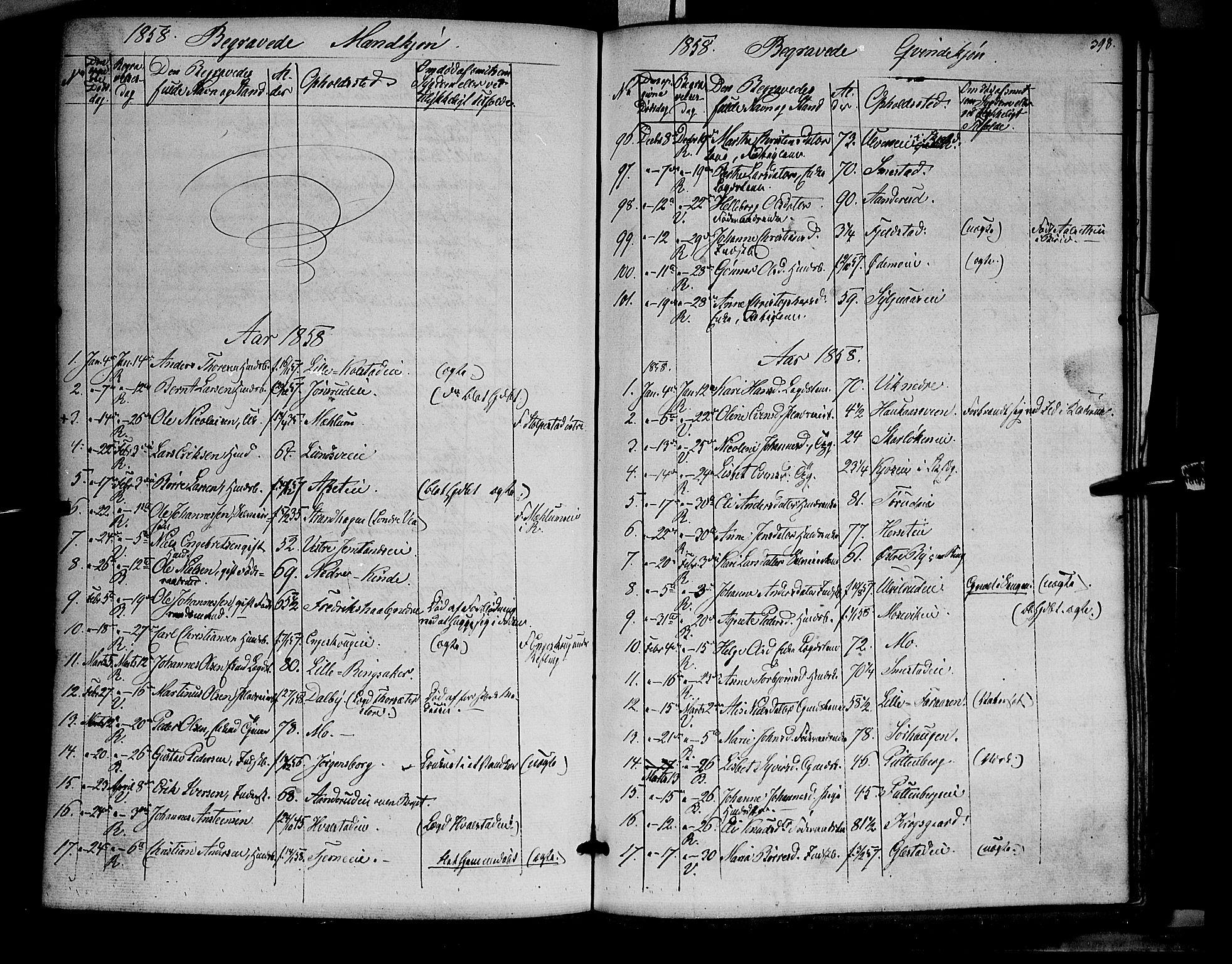 SAH, Ringsaker prestekontor, K/Ka/L0009: Ministerialbok nr. 9, 1850-1860, s. 398