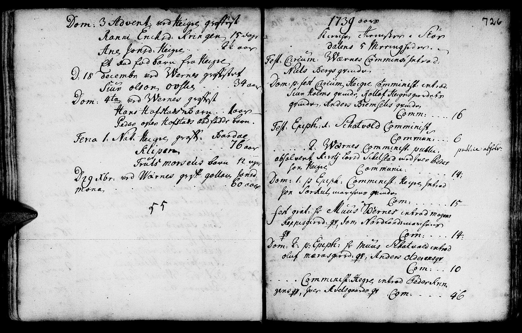 SAT, Ministerialprotokoller, klokkerbøker og fødselsregistre - Nord-Trøndelag, 709/L0055: Ministerialbok nr. 709A03, 1730-1739, s. 725-726