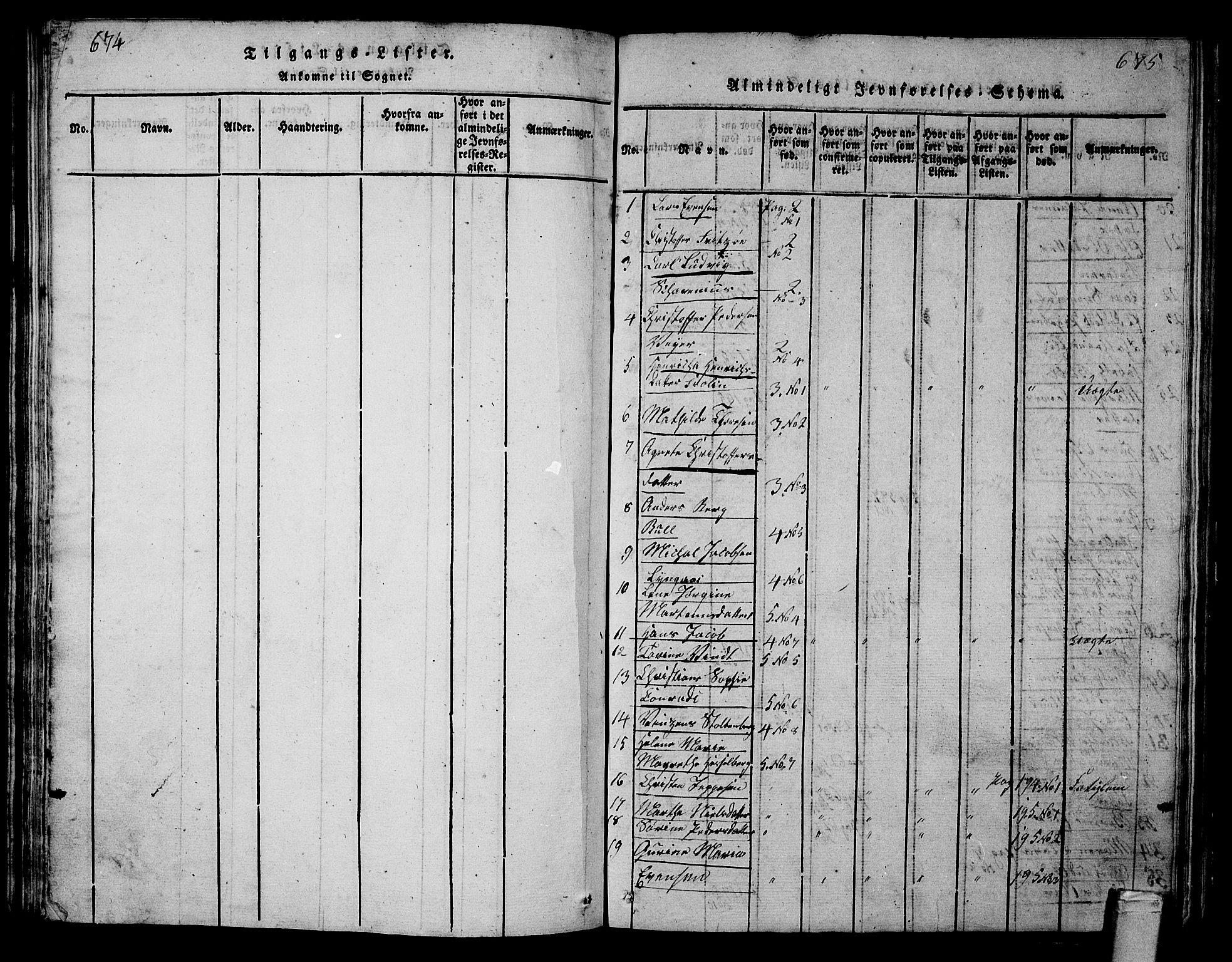 SAKO, Tønsberg kirkebøker, G/Ga/L0001: Klokkerbok nr. 1, 1813-1826, s. 674-675