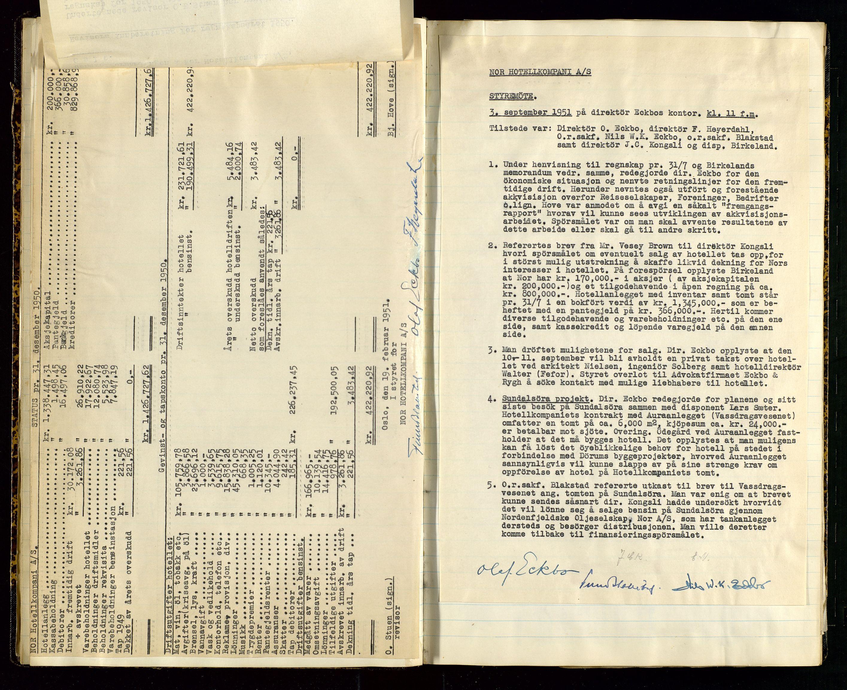 SAST, PA 1516 - Nor Hotellkompani A/S, A/L0001: Referatprotokoll, 1948-1855, s. 22