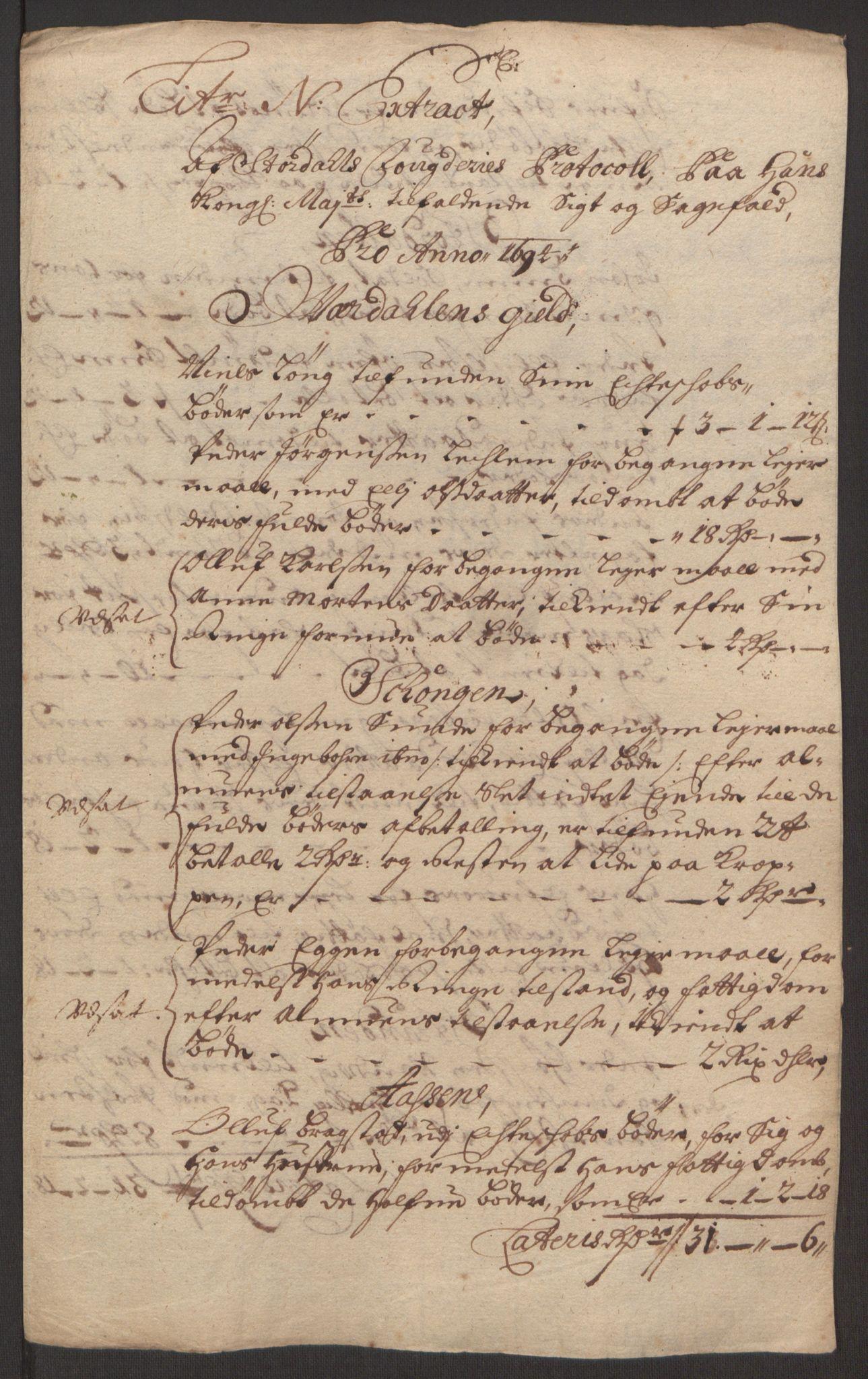 RA, Rentekammeret inntil 1814, Reviderte regnskaper, Fogderegnskap, R62/L4186: Fogderegnskap Stjørdal og Verdal, 1693-1694, s. 250