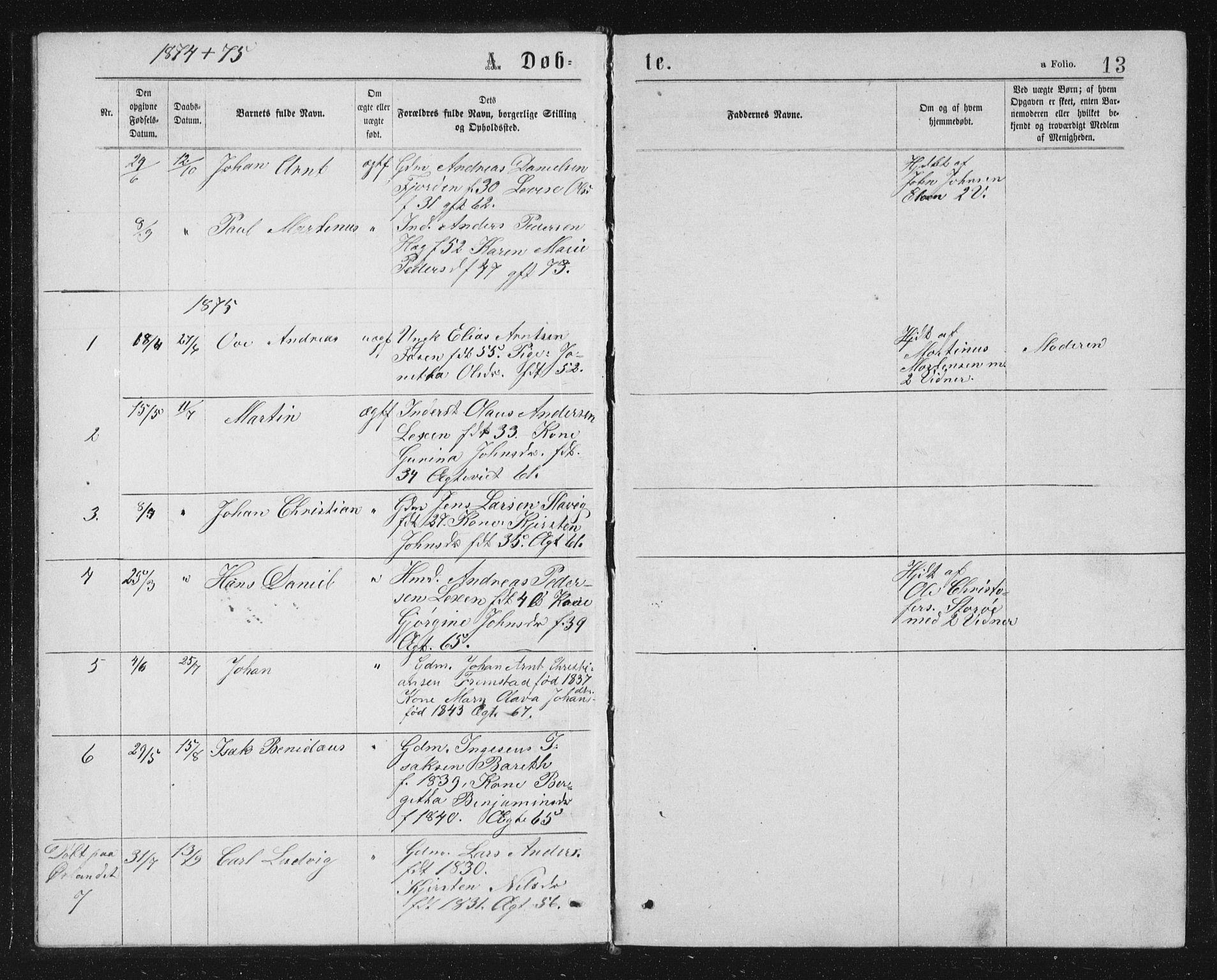SAT, Ministerialprotokoller, klokkerbøker og fødselsregistre - Sør-Trøndelag, 662/L0756: Klokkerbok nr. 662C01, 1869-1891, s. 13