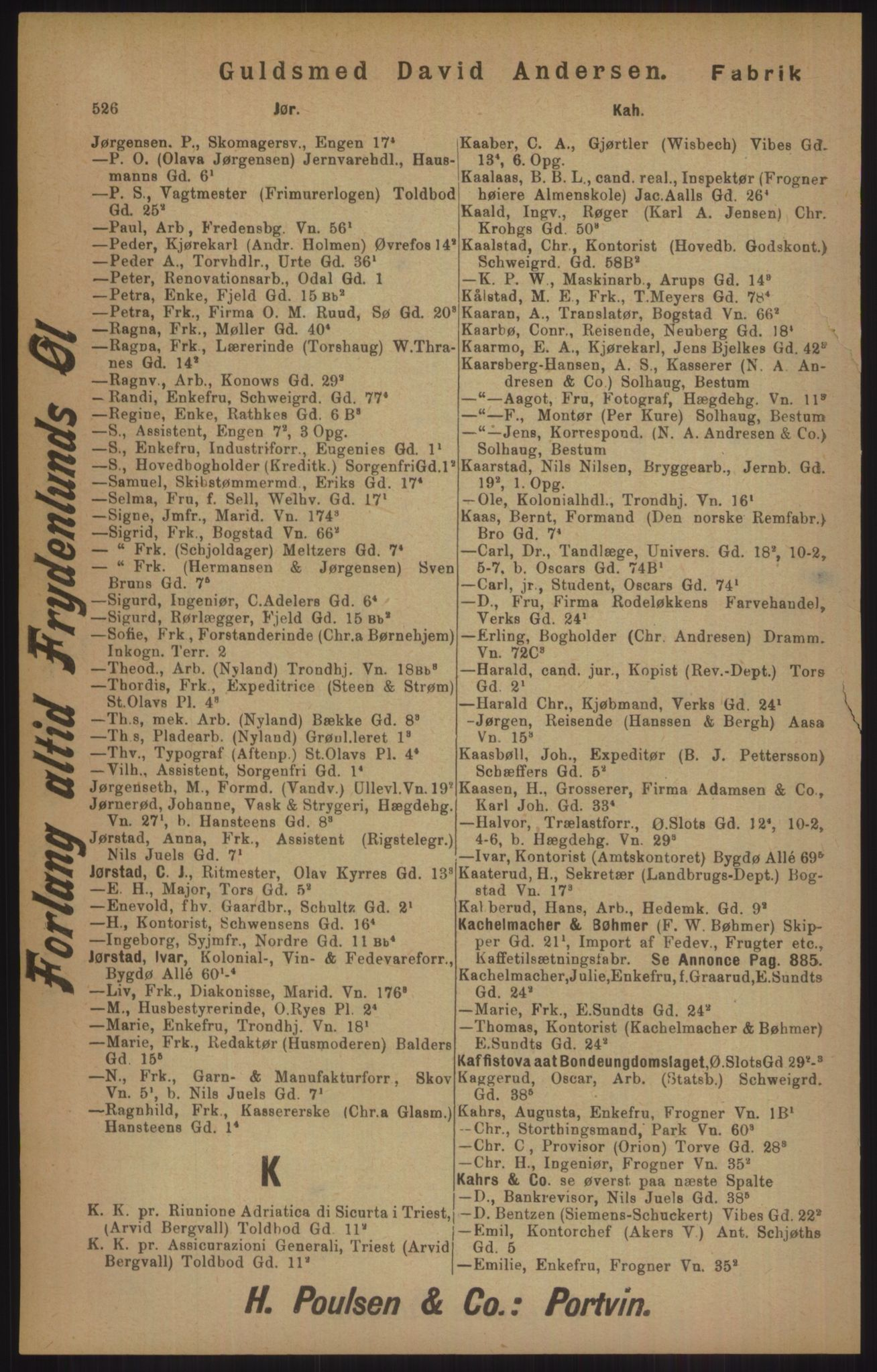 RA, Kristiania adressebok (publikasjon)*, 1905, s. 526