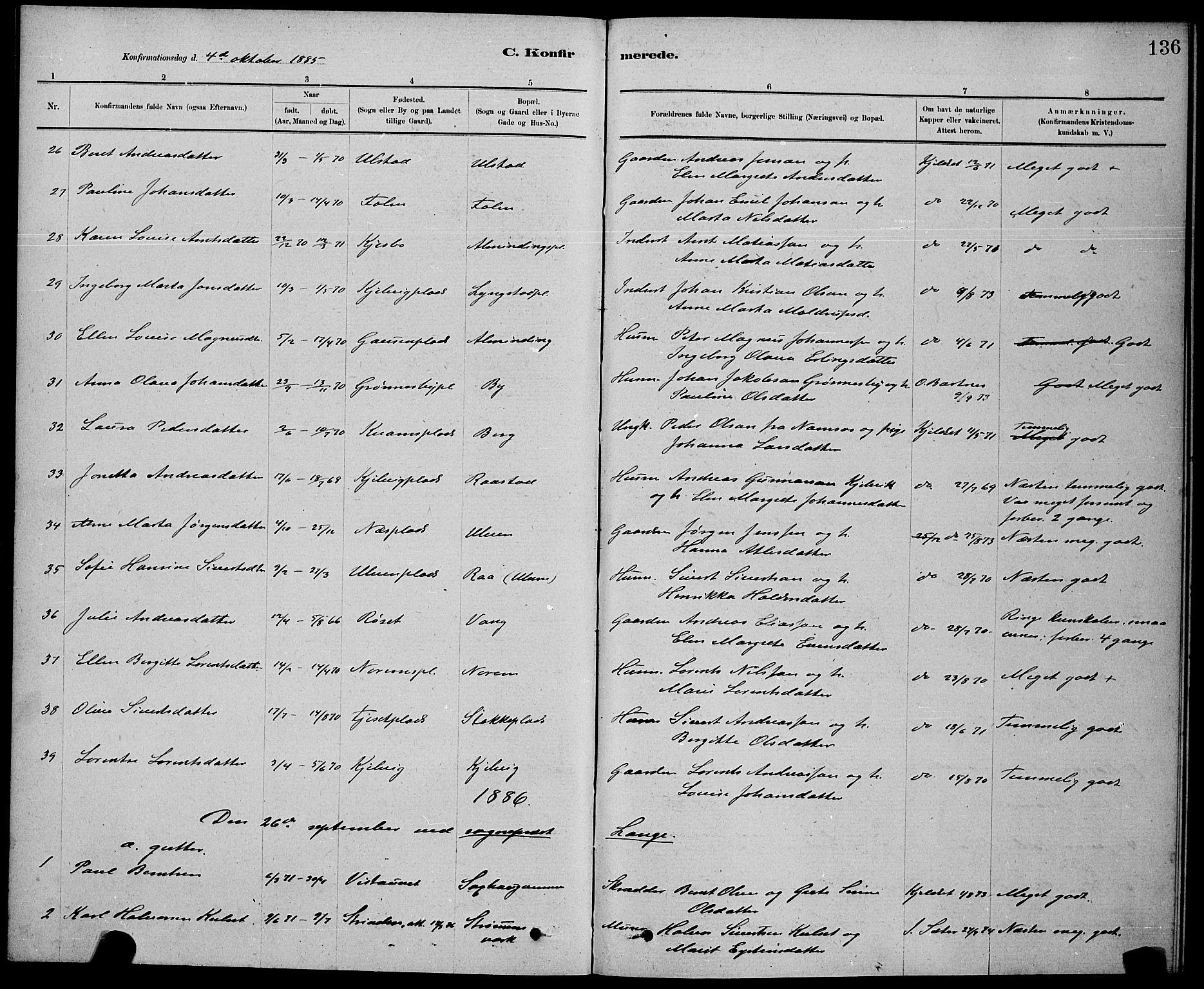 SAT, Ministerialprotokoller, klokkerbøker og fødselsregistre - Nord-Trøndelag, 730/L0301: Klokkerbok nr. 730C04, 1880-1897, s. 136