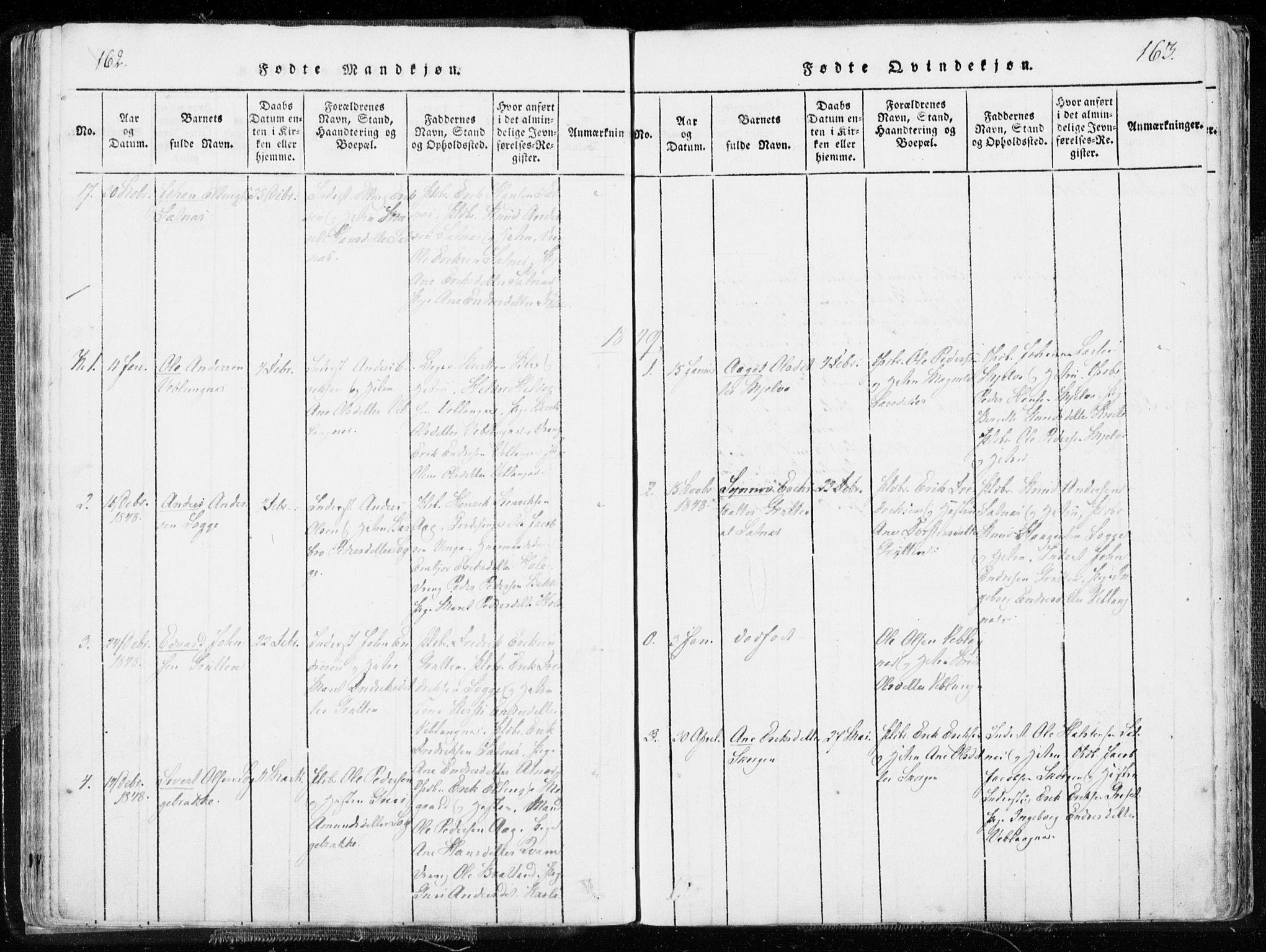 SAT, Ministerialprotokoller, klokkerbøker og fødselsregistre - Møre og Romsdal, 544/L0571: Ministerialbok nr. 544A04, 1818-1853, s. 162-163