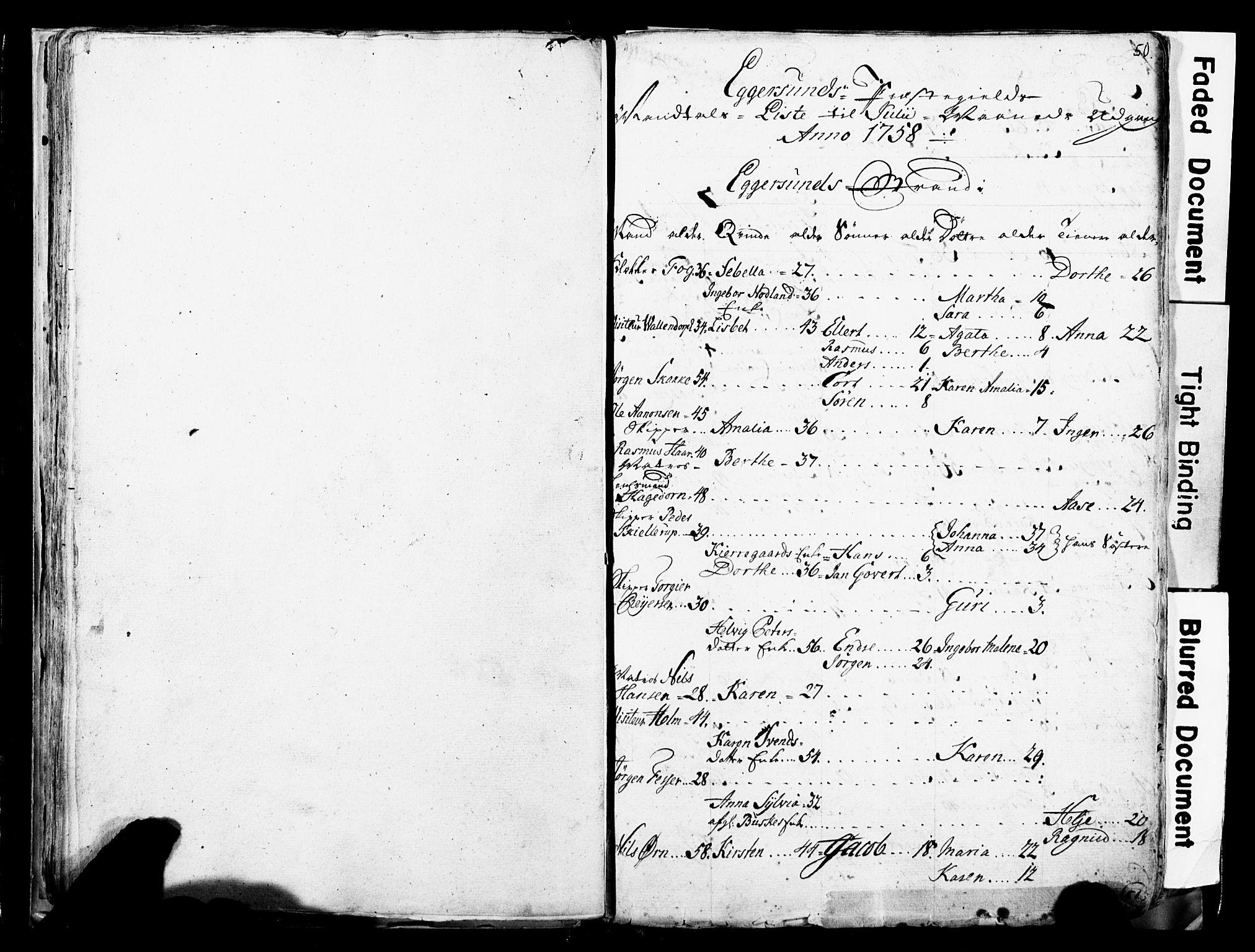 SAST, Fylkesmannen i Rogaland, 3/325/325CA/L0017: SJELEREGISTER JÆREN OG DALANE PRESTEGJELD, 1758, s. 50
