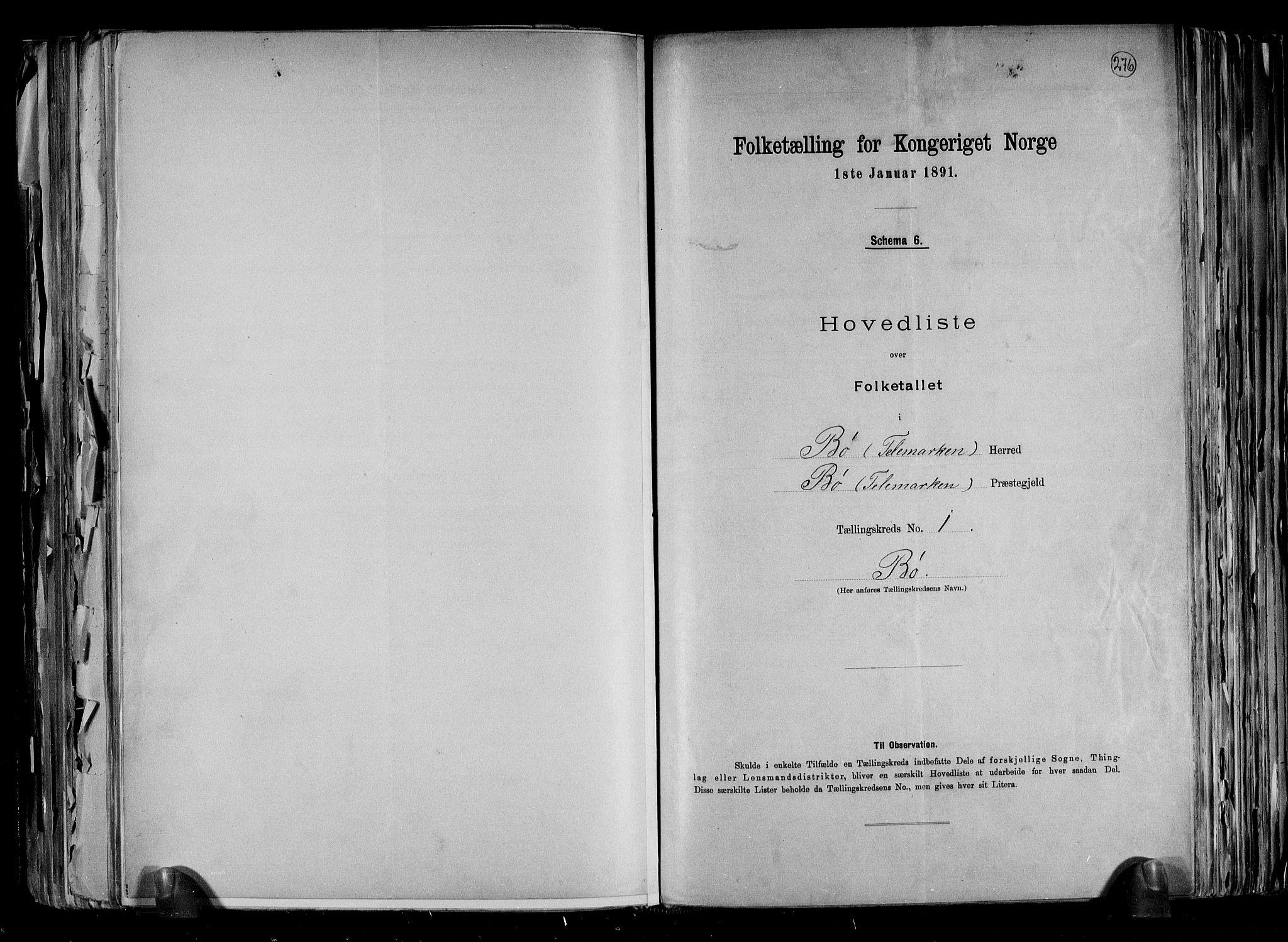 RA, Folketelling 1891 for 0821 Bø herred, 1891, s. 4