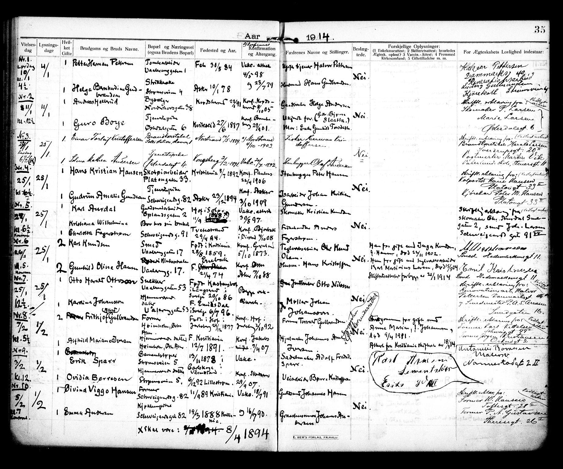 SAO, Vålerengen prestekontor Kirkebøker, H/Ha/L0002: Lysningsprotokoll nr. 2, 1910-1918, s. 35