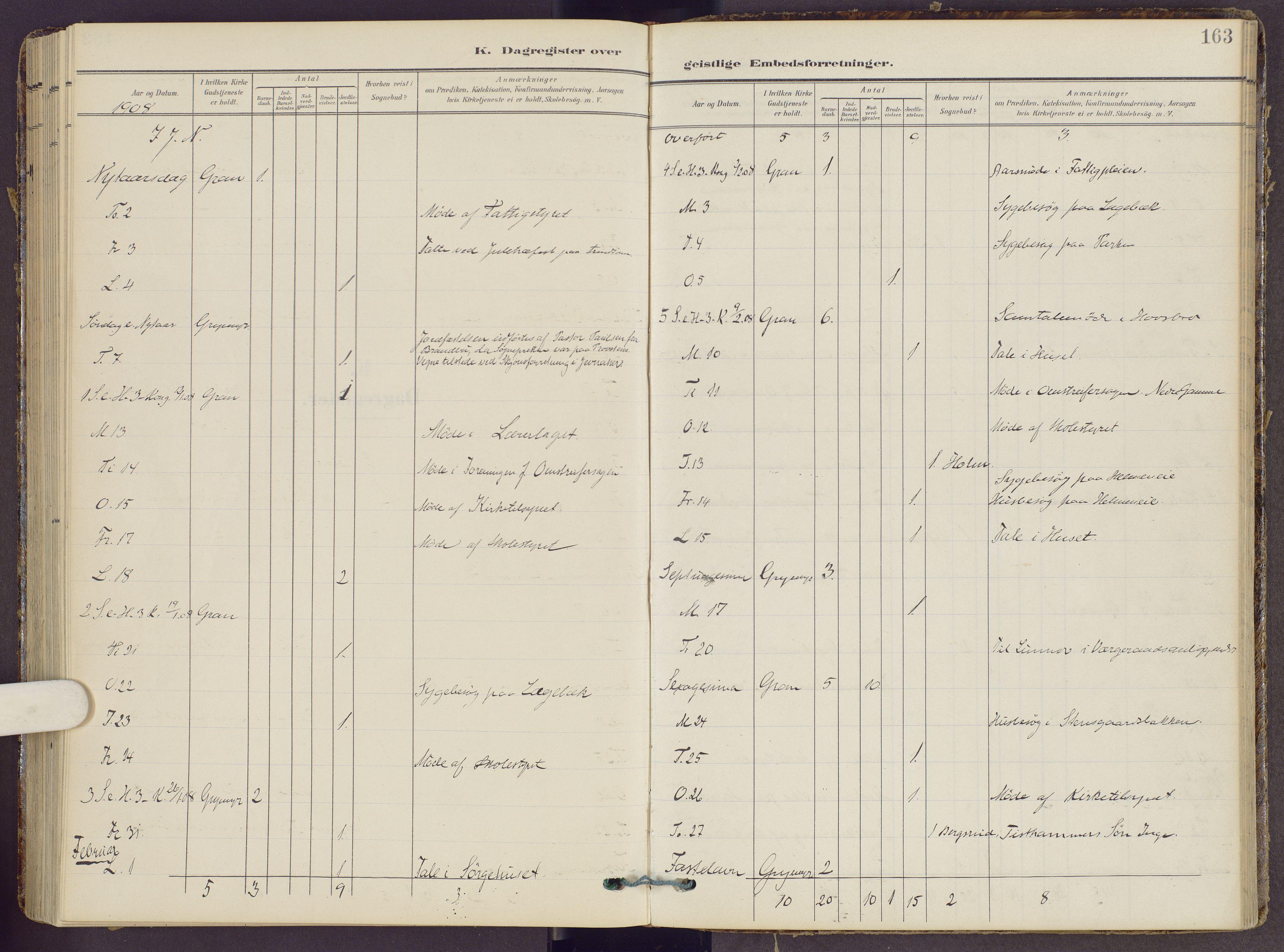 SAH, Gran prestekontor, Ministerialbok nr. 22, 1908-1918, s. 163