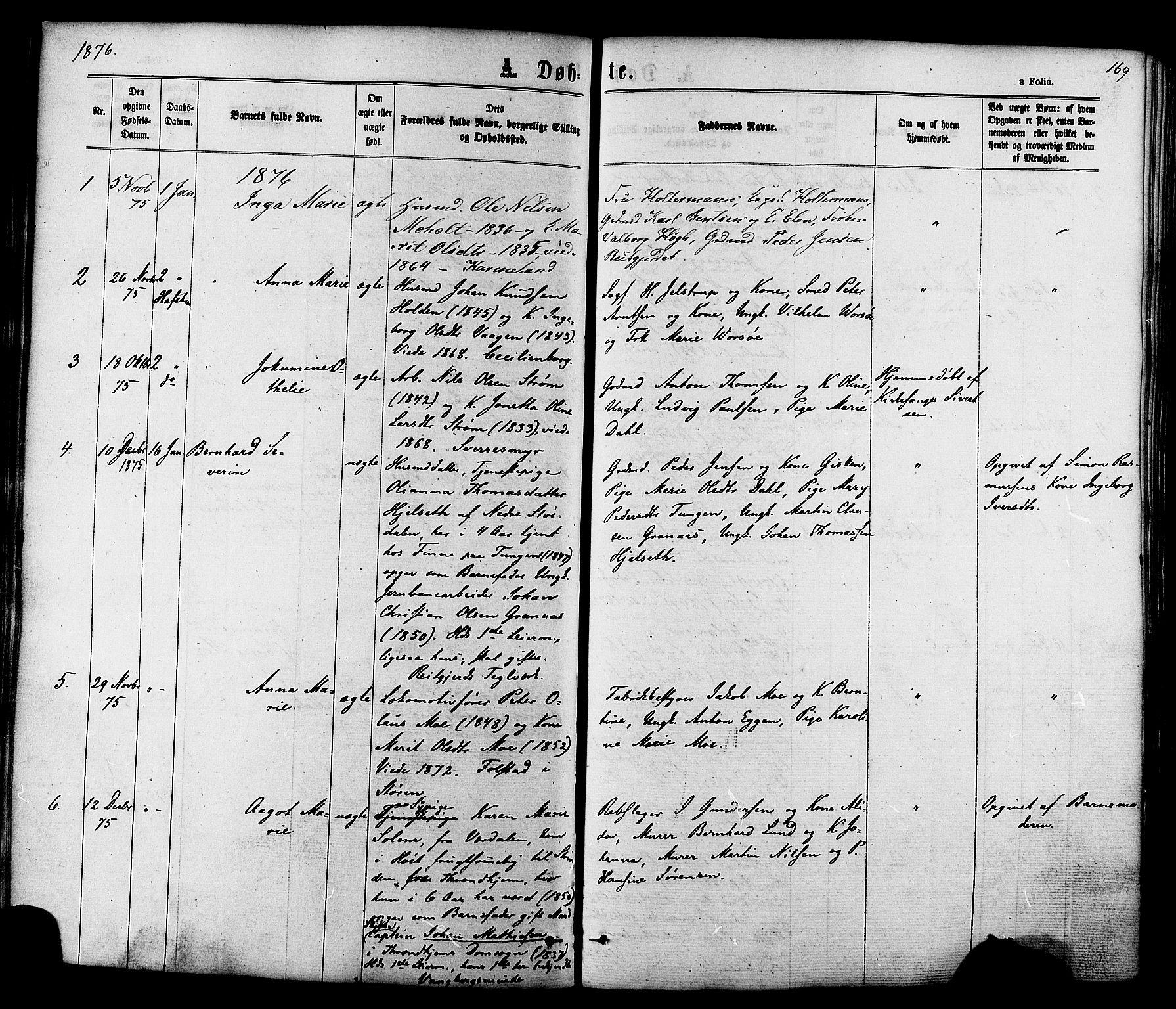SAT, Ministerialprotokoller, klokkerbøker og fødselsregistre - Sør-Trøndelag, 606/L0293: Ministerialbok nr. 606A08, 1866-1877, s. 169