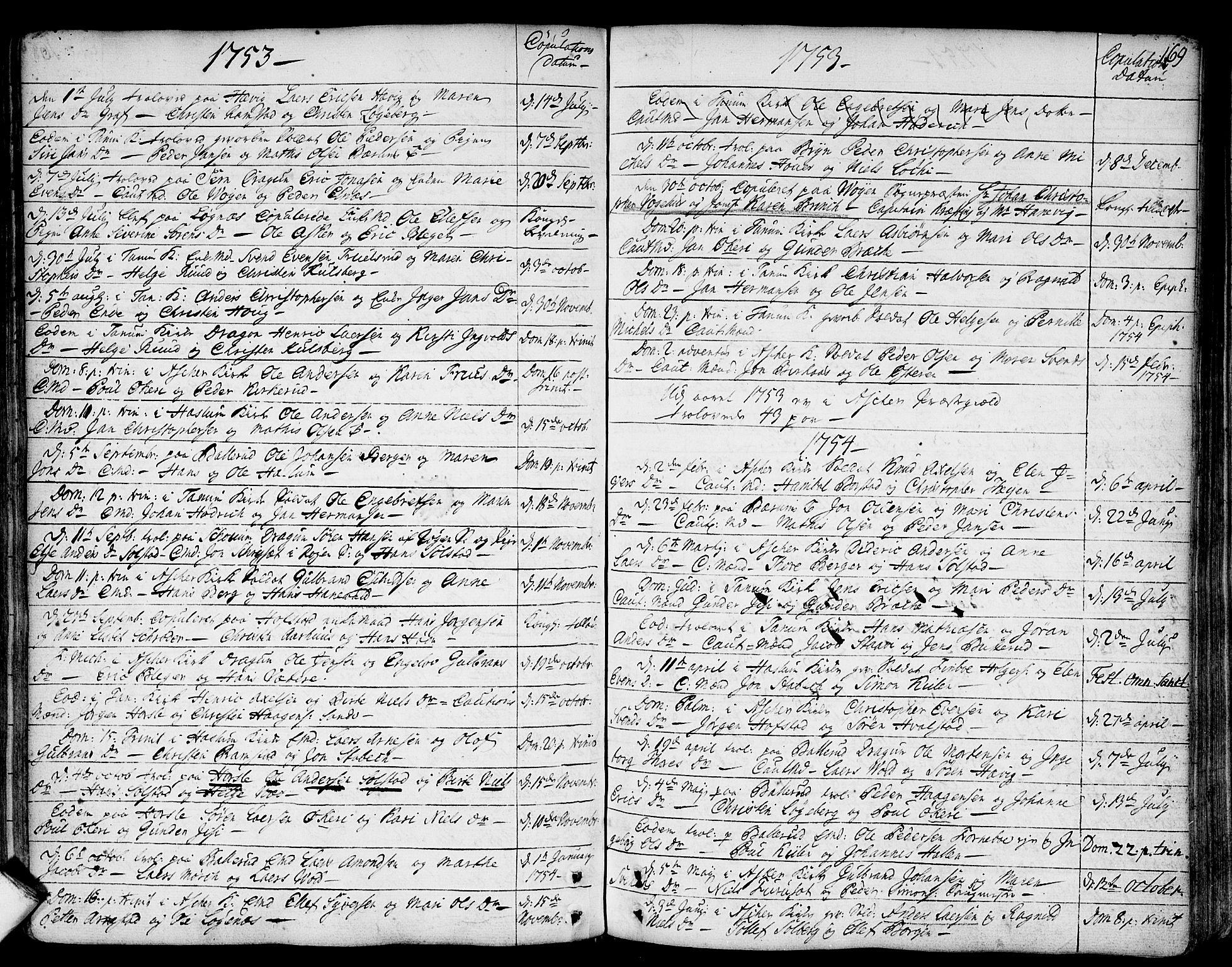 SAO, Asker prestekontor Kirkebøker, F/Fa/L0002: Ministerialbok nr. I 2, 1733-1766, s. 169