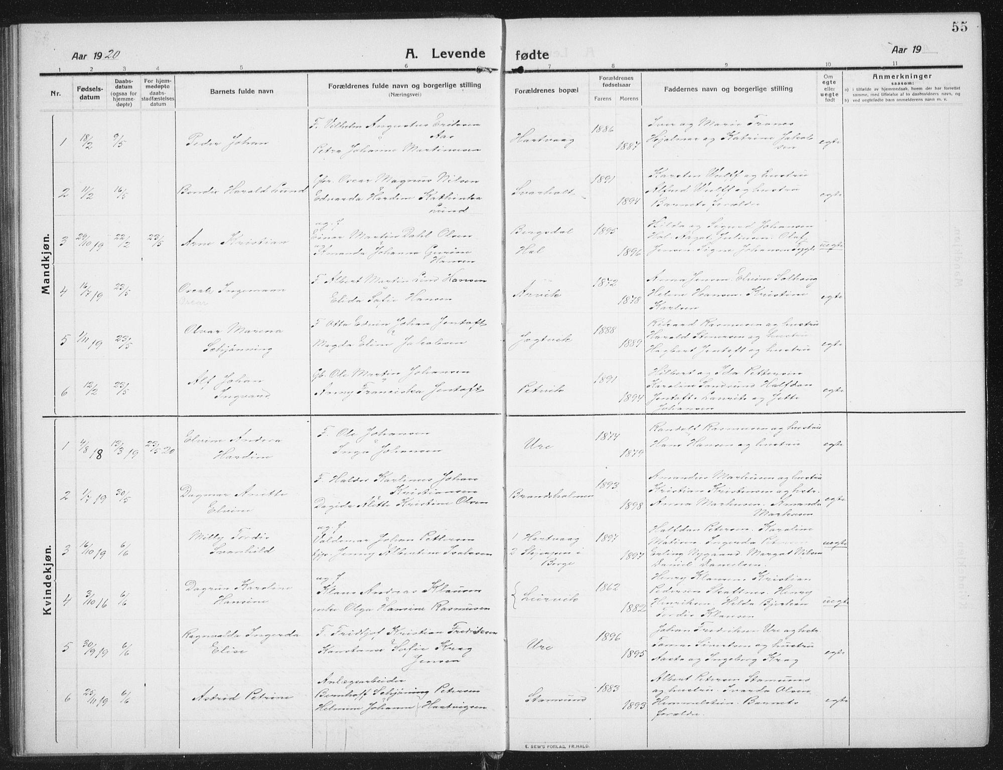 SAT, Ministerialprotokoller, klokkerbøker og fødselsregistre - Nordland, 882/L1183: Klokkerbok nr. 882C01, 1911-1938, s. 55