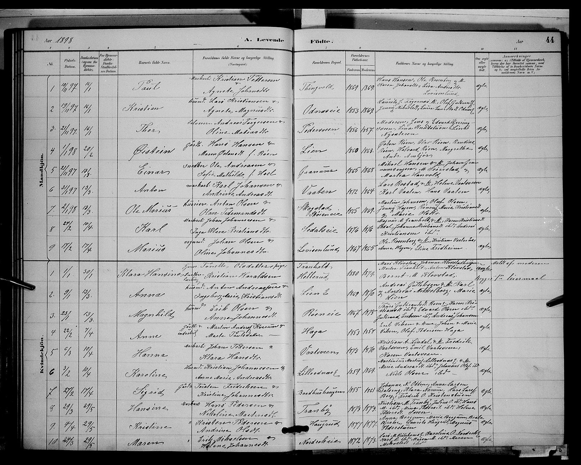 SAH, Søndre Land prestekontor, L/L0003: Klokkerbok nr. 3, 1884-1902, s. 44