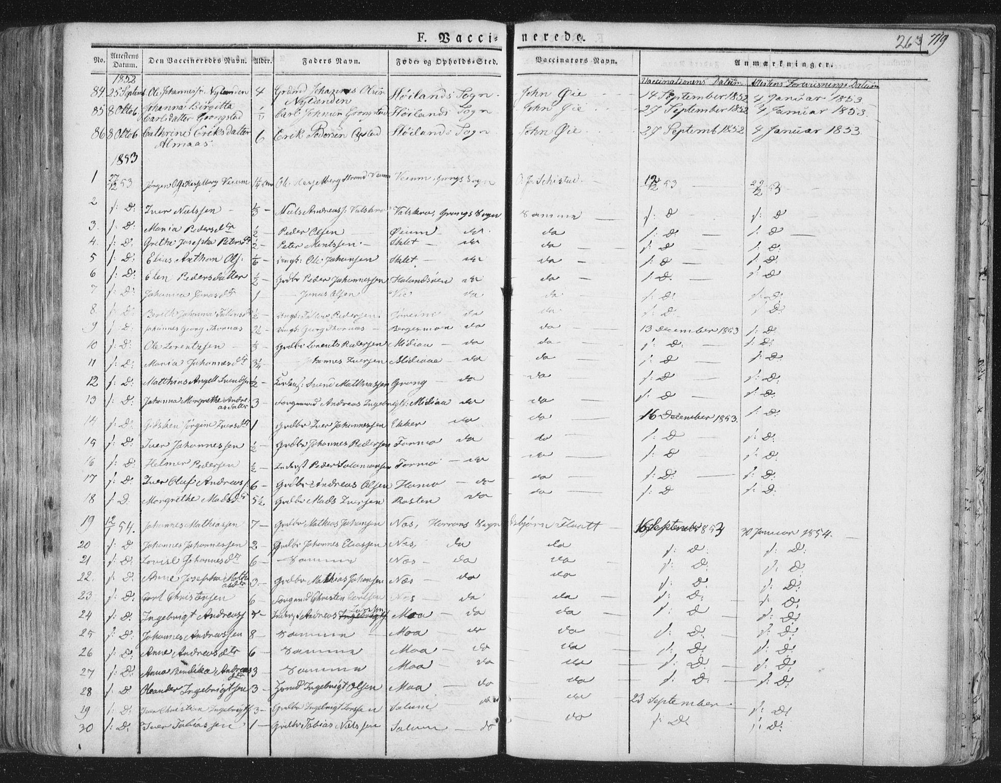 SAT, Ministerialprotokoller, klokkerbøker og fødselsregistre - Nord-Trøndelag, 758/L0513: Ministerialbok nr. 758A02 /1, 1839-1868, s. 263