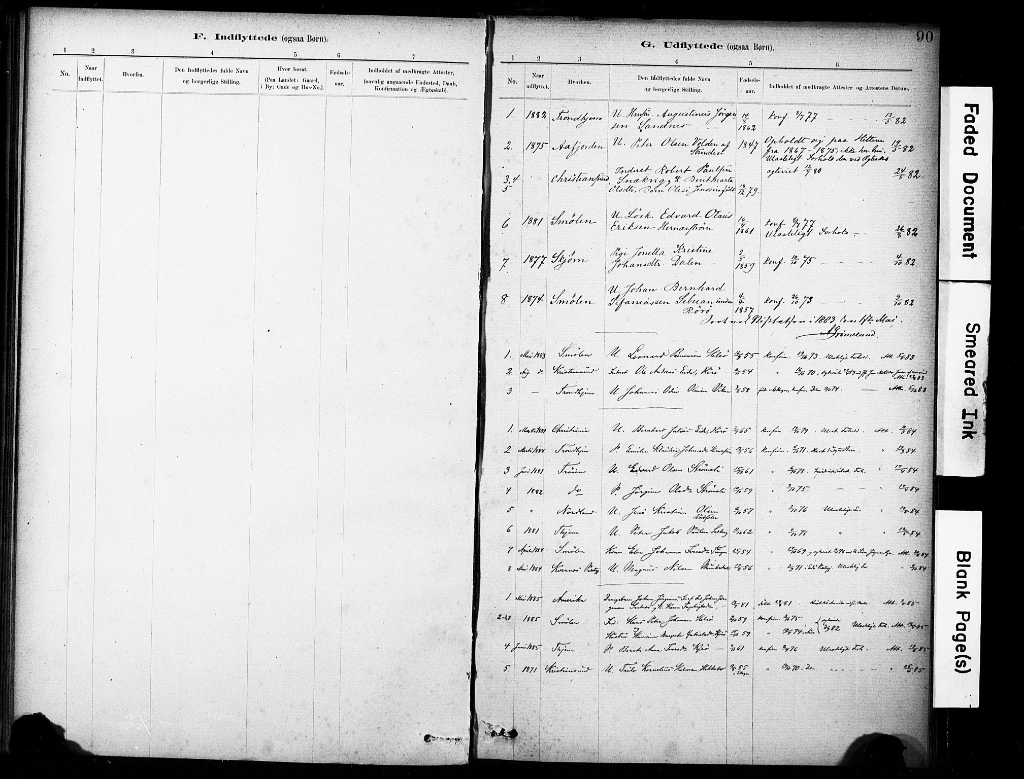 SAT, Ministerialprotokoller, klokkerbøker og fødselsregistre - Sør-Trøndelag, 635/L0551: Ministerialbok nr. 635A01, 1882-1899, s. 90
