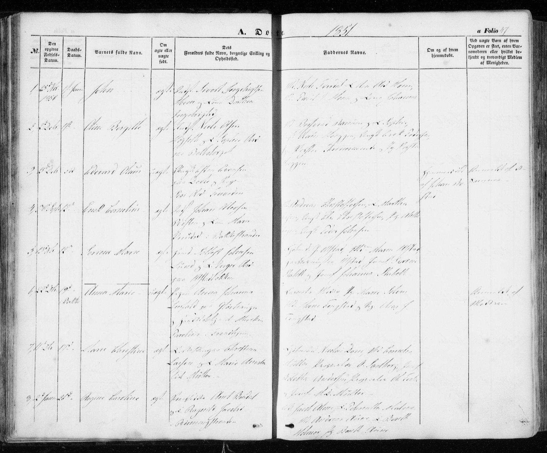SAT, Ministerialprotokoller, klokkerbøker og fødselsregistre - Sør-Trøndelag, 606/L0291: Ministerialbok nr. 606A06, 1848-1856, s. 47
