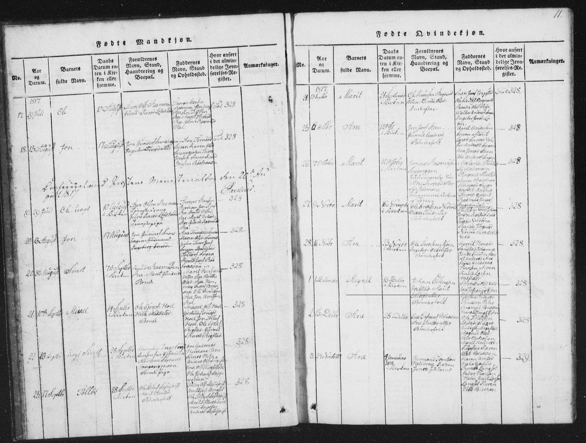 SAT, Ministerialprotokoller, klokkerbøker og fødselsregistre - Sør-Trøndelag, 672/L0862: Klokkerbok nr. 672C01, 1816-1831, s. 11