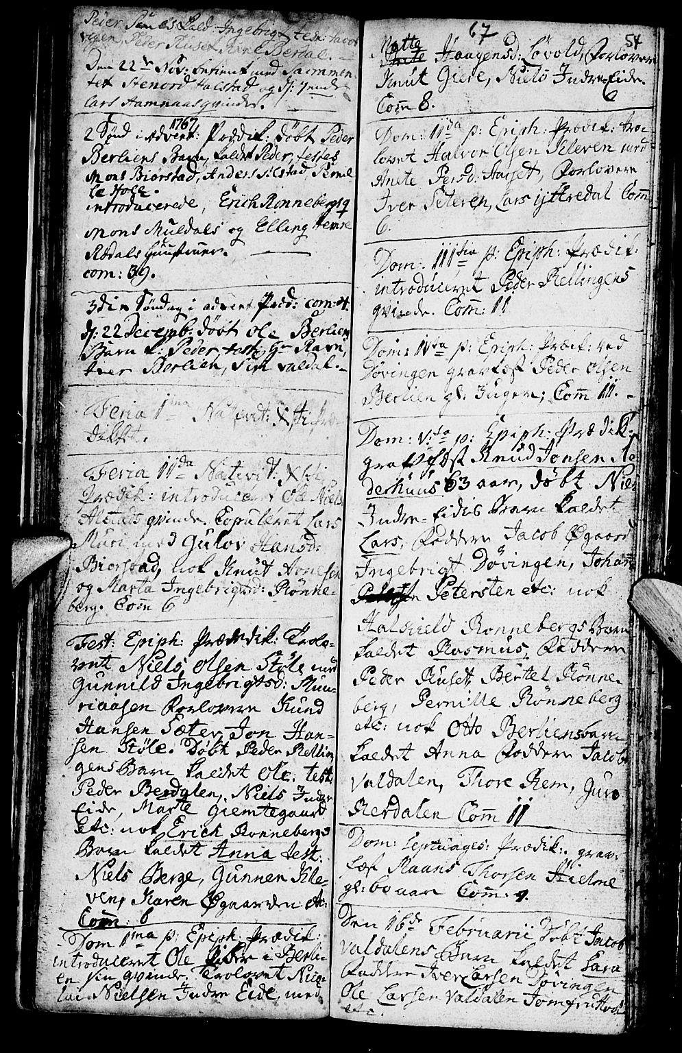 SAT, Ministerialprotokoller, klokkerbøker og fødselsregistre - Møre og Romsdal, 519/L0243: Ministerialbok nr. 519A02, 1760-1770, s. 53-54
