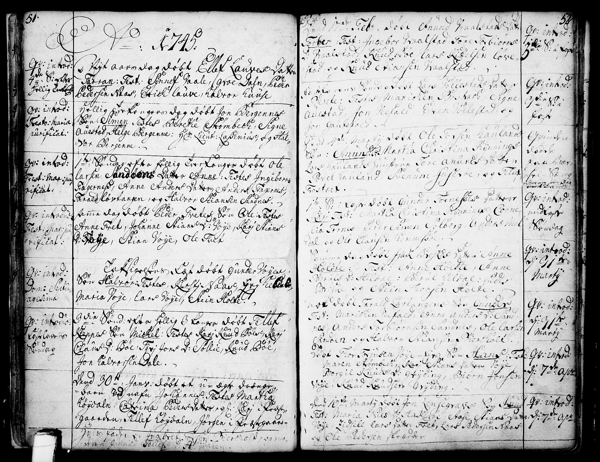 SAKO, Drangedal kirkebøker, F/Fa/L0002: Ministerialbok nr. 2, 1733-1753, s. 51-52