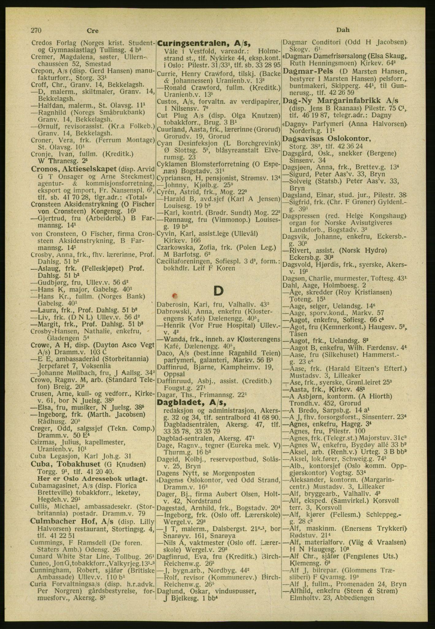 PUBL, Kristiania/Oslo adressebok, 1951, s. 270