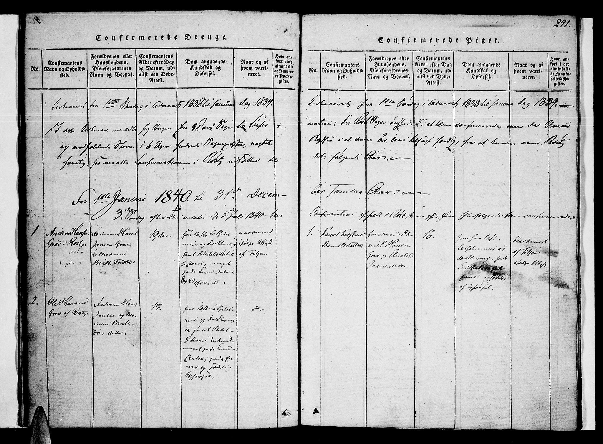SAT, Ministerialprotokoller, klokkerbøker og fødselsregistre - Nordland, 807/L0120: Ministerialbok nr. 807A03, 1821-1848, s. 241