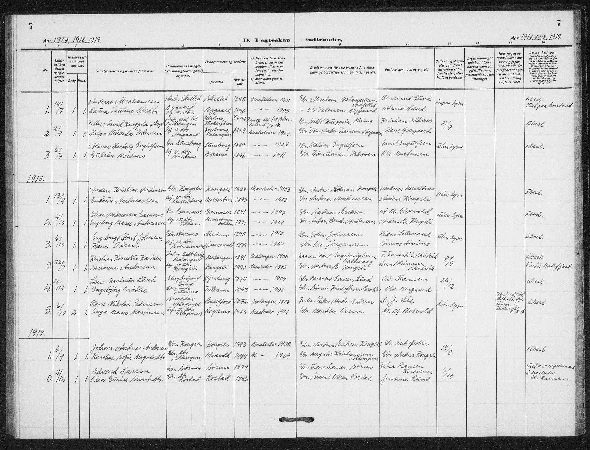 SATØ, Målselv sokneprestembete, G/Ga/Gab/L0012klokker: Klokkerbok nr. 12, 1900-1936, s. 7