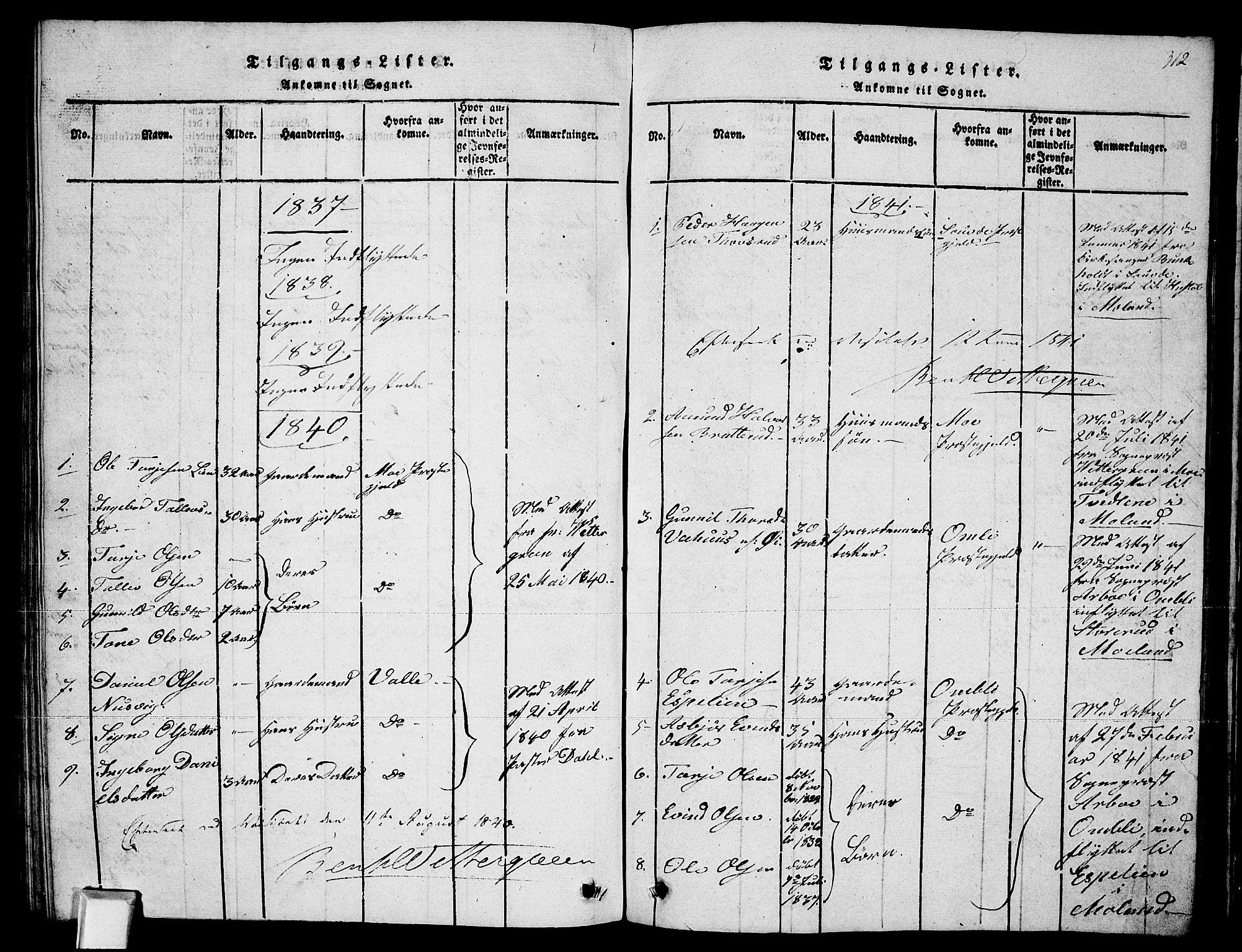 SAKO, Fyresdal kirkebøker, G/Ga/L0002: Klokkerbok nr. I 2, 1815-1857, s. 312