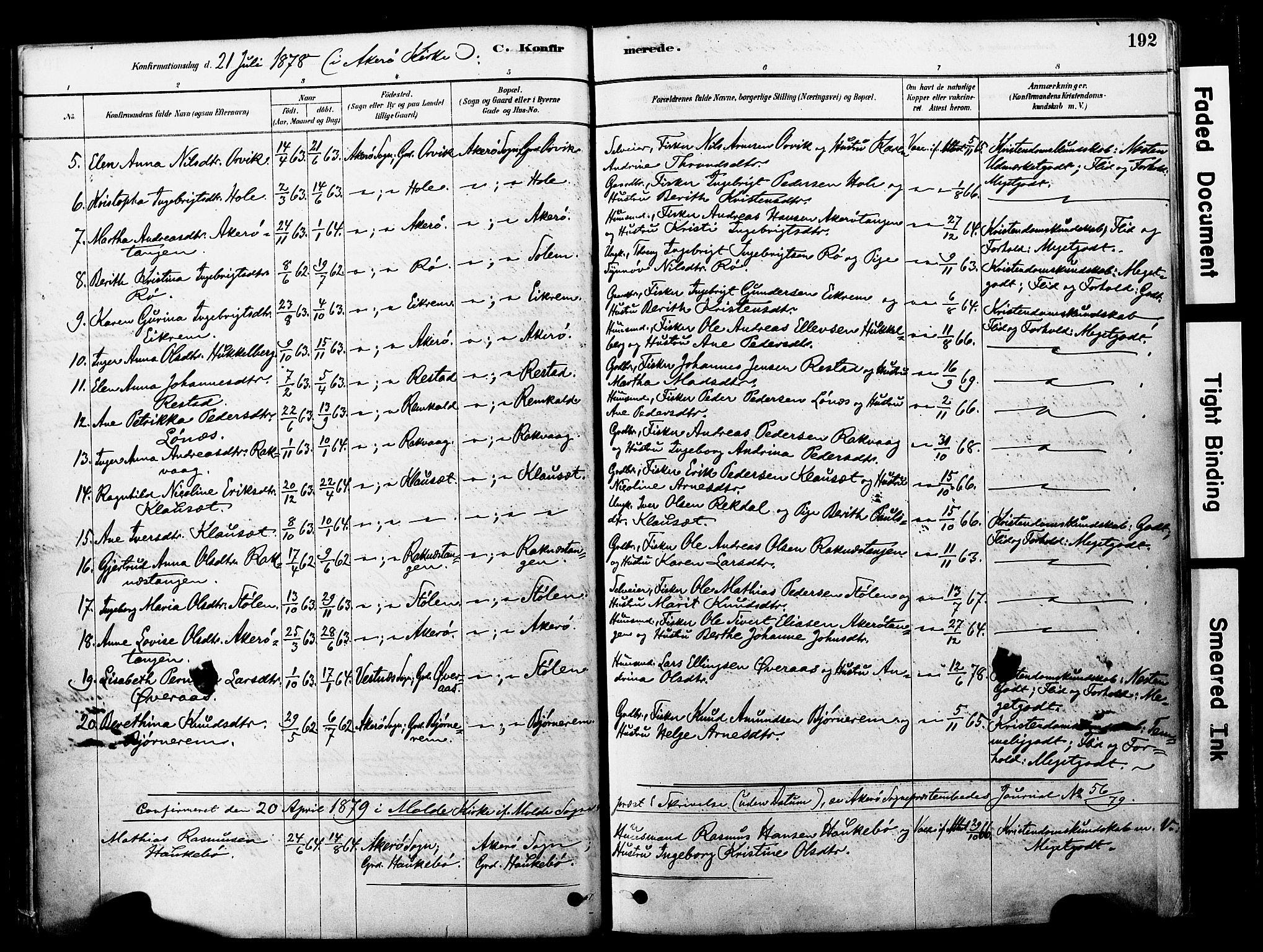 SAT, Ministerialprotokoller, klokkerbøker og fødselsregistre - Møre og Romsdal, 560/L0721: Ministerialbok nr. 560A05, 1878-1917, s. 192