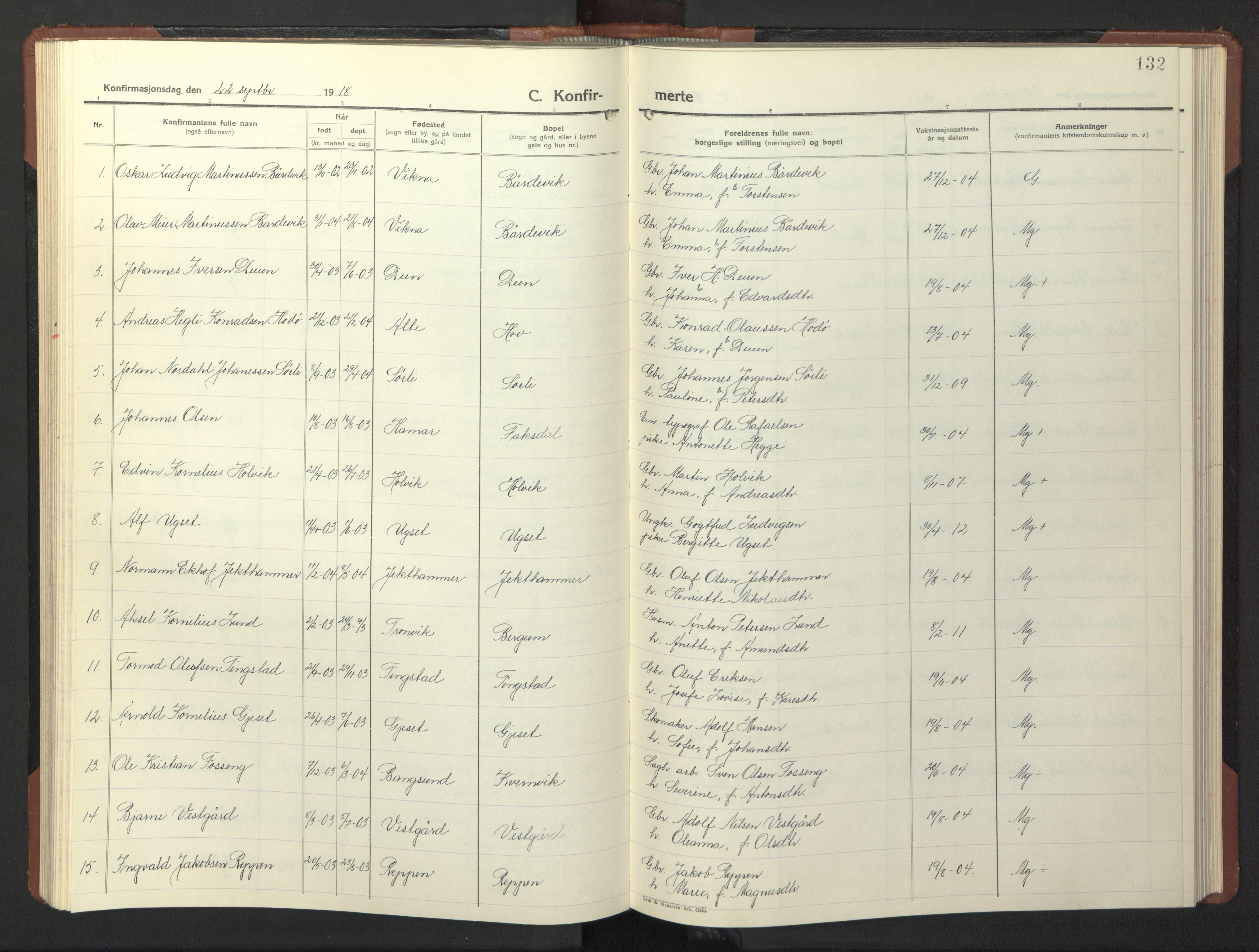 SAT, Ministerialprotokoller, klokkerbøker og fødselsregistre - Nord-Trøndelag, 773/L0625: Klokkerbok nr. 773C01, 1910-1952, s. 132
