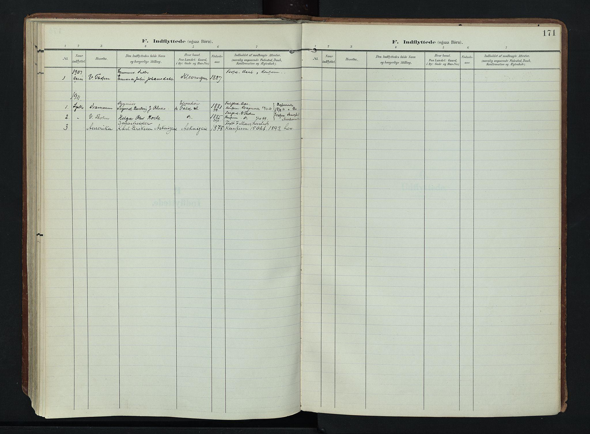 SAH, Søndre Land prestekontor, K/L0007: Ministerialbok nr. 7, 1905-1914, s. 171
