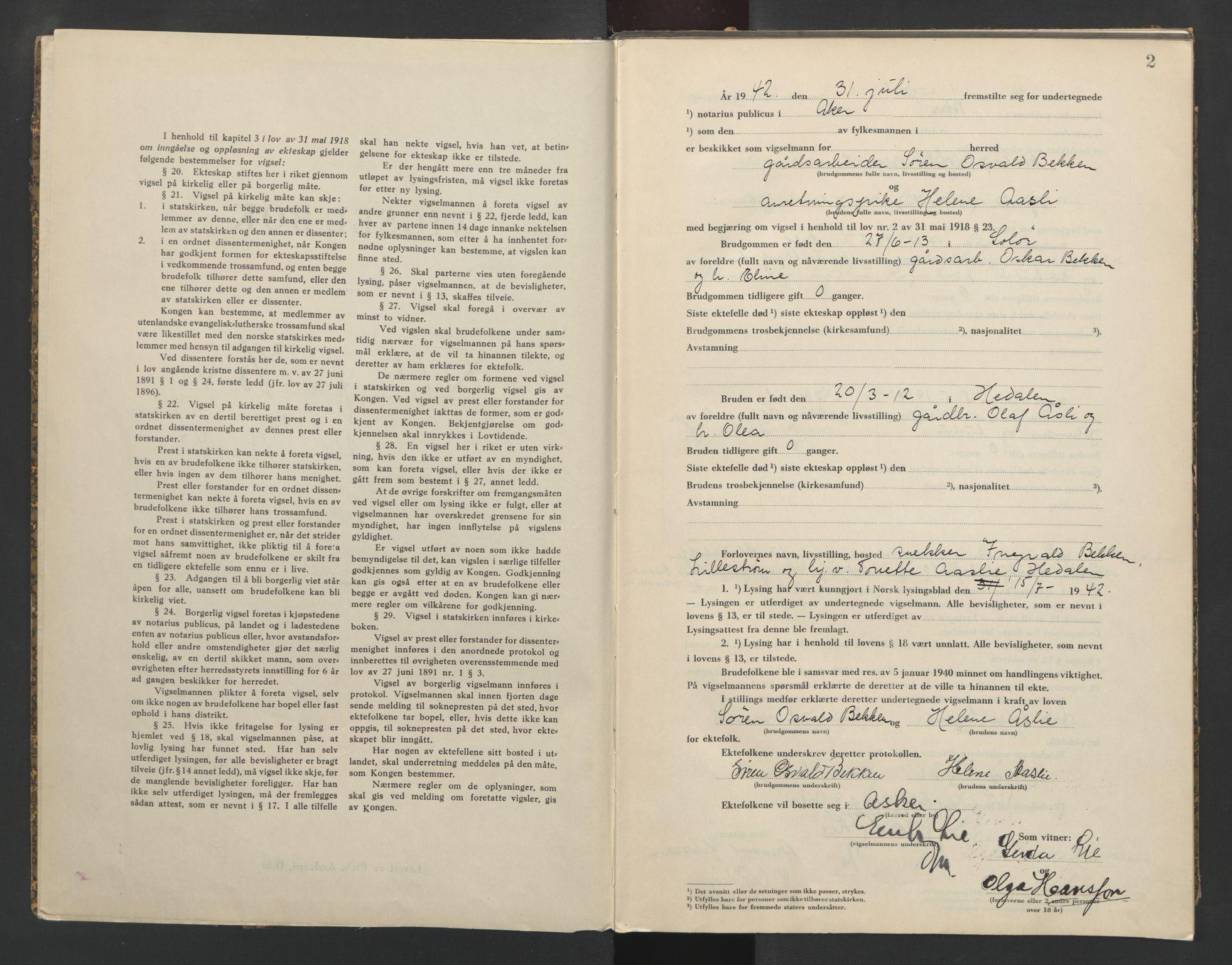 SAO, Aker sorenskriveri, L/Lc/Lcb/L0017: Vigselprotokoll, 1942, s. 2