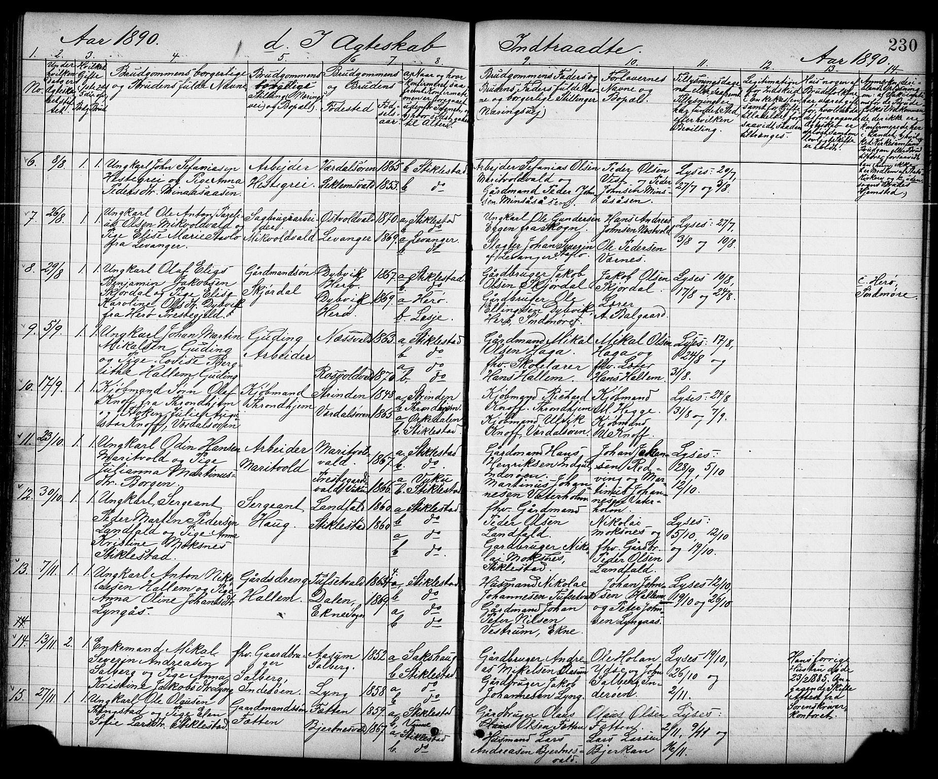 SAT, Ministerialprotokoller, klokkerbøker og fødselsregistre - Nord-Trøndelag, 723/L0257: Klokkerbok nr. 723C05, 1890-1907, s. 230
