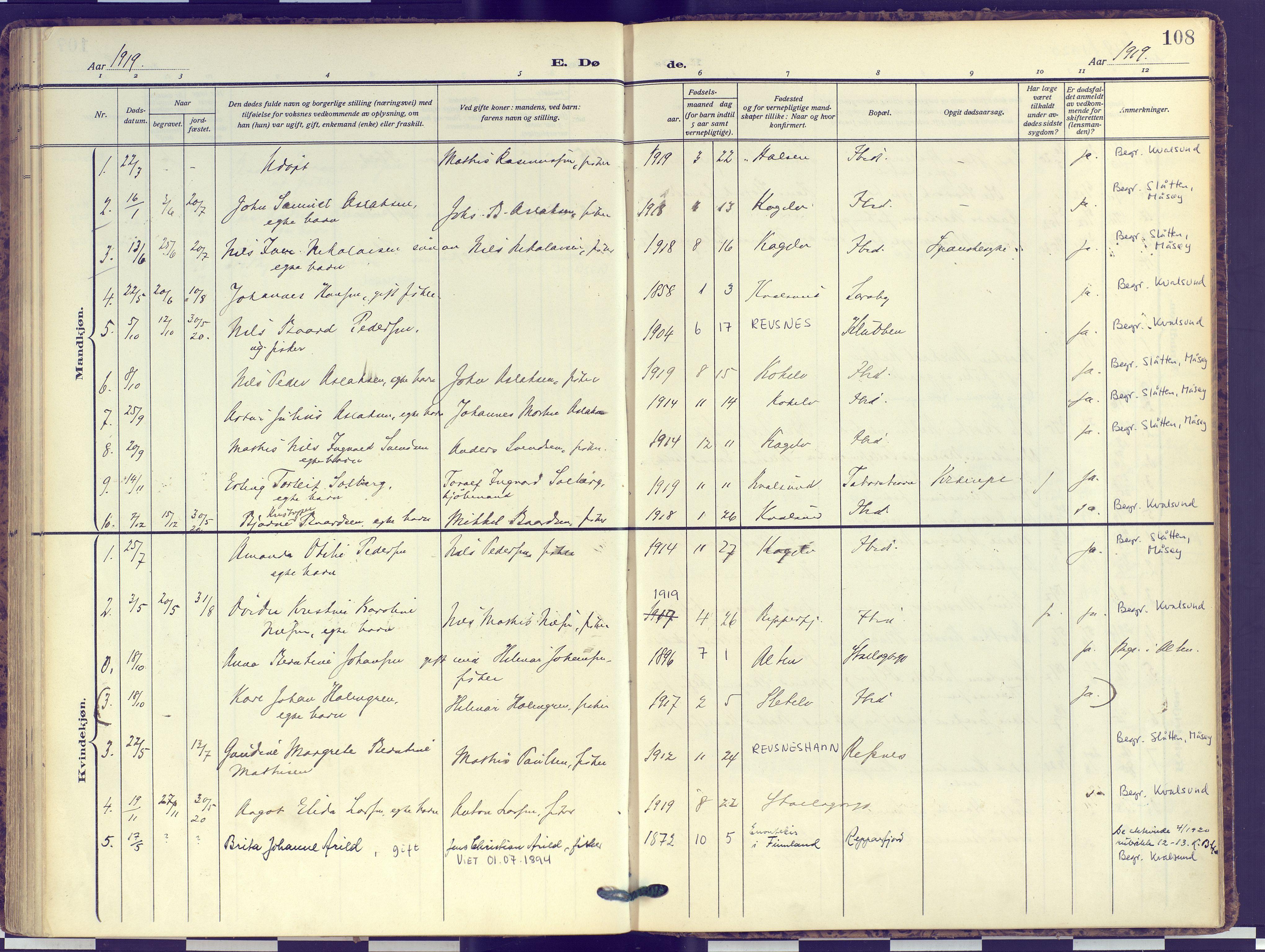 SATØ, Hammerfest sokneprestembete, Ministerialbok nr. 16, 1908-1923, s. 108