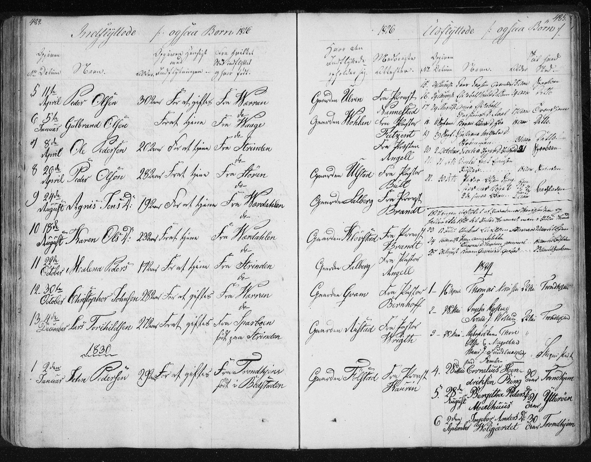 SAT, Ministerialprotokoller, klokkerbøker og fødselsregistre - Nord-Trøndelag, 730/L0276: Ministerialbok nr. 730A05, 1822-1830, s. 484-485