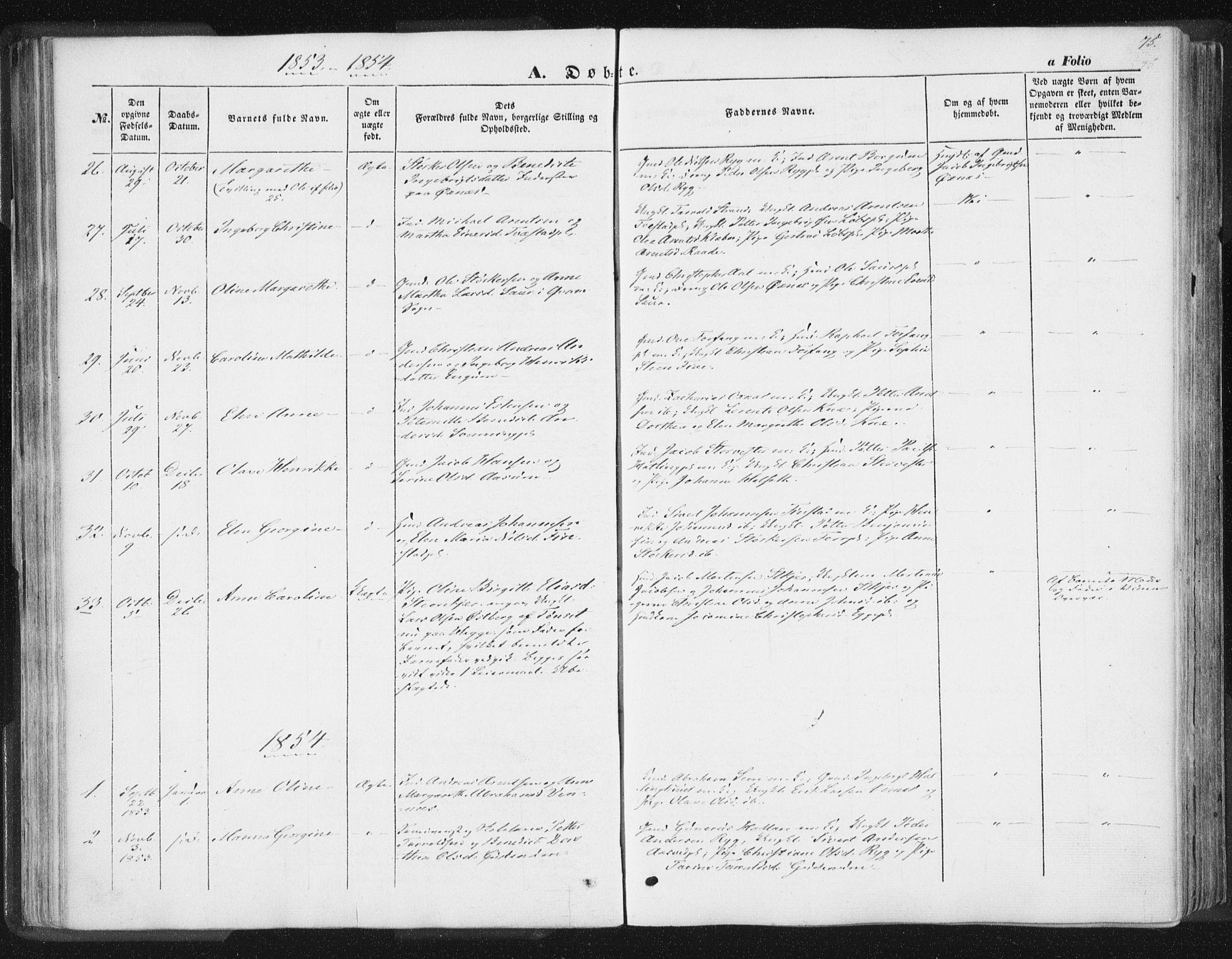 SAT, Ministerialprotokoller, klokkerbøker og fødselsregistre - Nord-Trøndelag, 746/L0446: Ministerialbok nr. 746A05, 1846-1859, s. 75